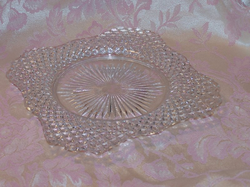 Image 4 of Glass Salad Plate, Square w Scalloping, Vintage
