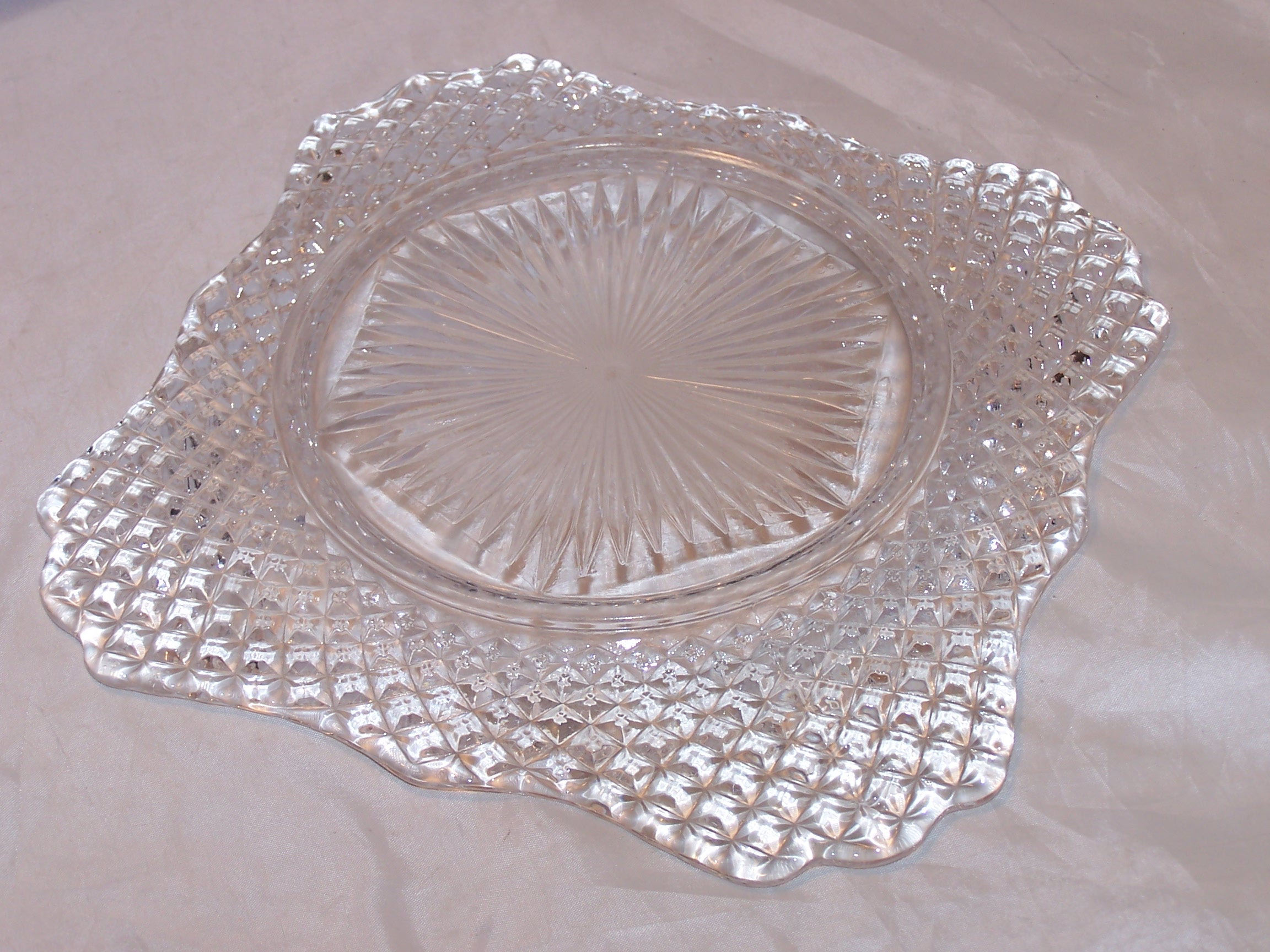 Image 5 of Glass Salad Plate, Square w Scalloping, Vintage