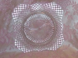 Glass Salad Plate, Square w Scalloping, Vintage