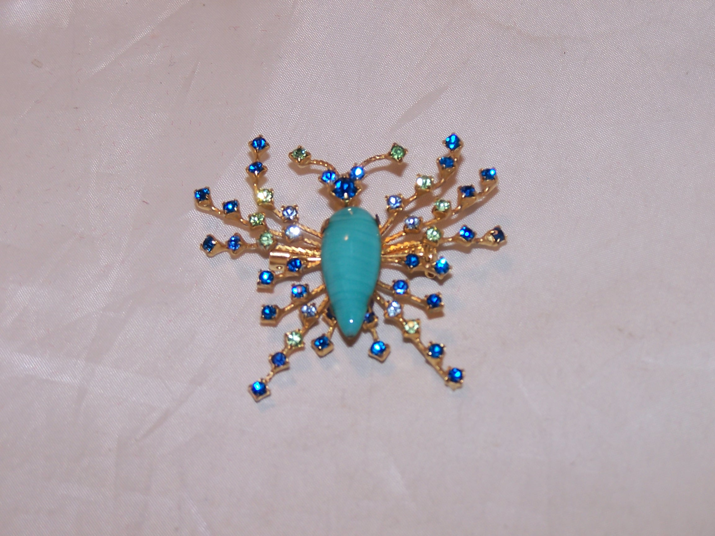 Joesph Warner Bug Pin, Brooch, Prong Set Rhinestones, Vintage