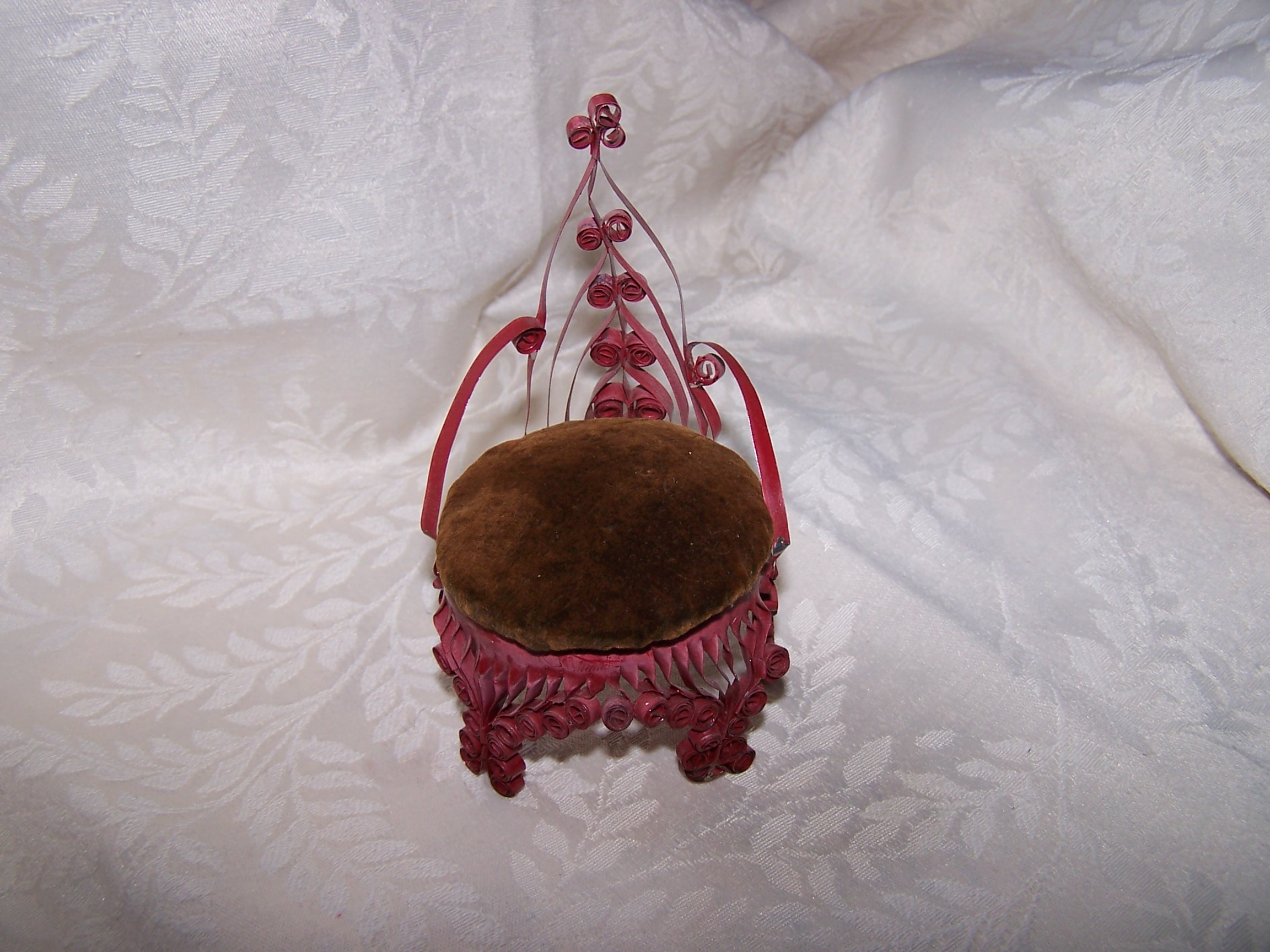 Quilled Pin Cushion Chair, Red, Folk Art, Vintage