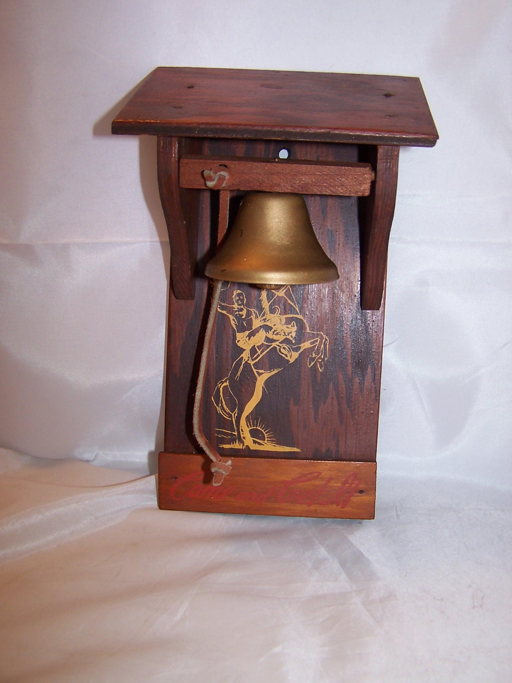 Image 1 of Cowboy Dinner Bell, Wood, Metal, Vintage