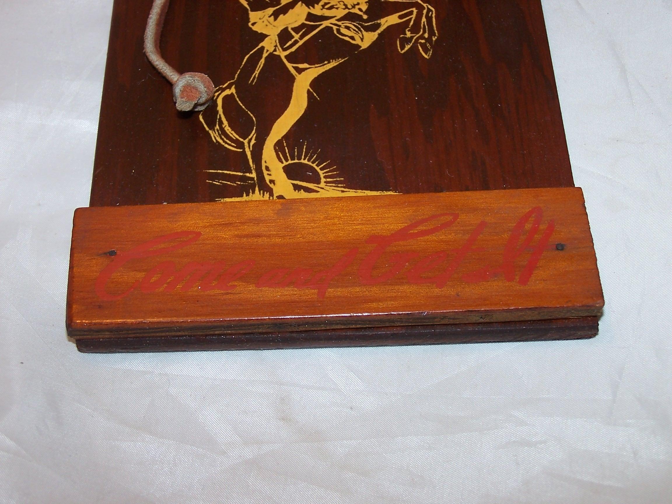 Image 2 of Cowboy Dinner Bell, Wood, Metal, Vintage