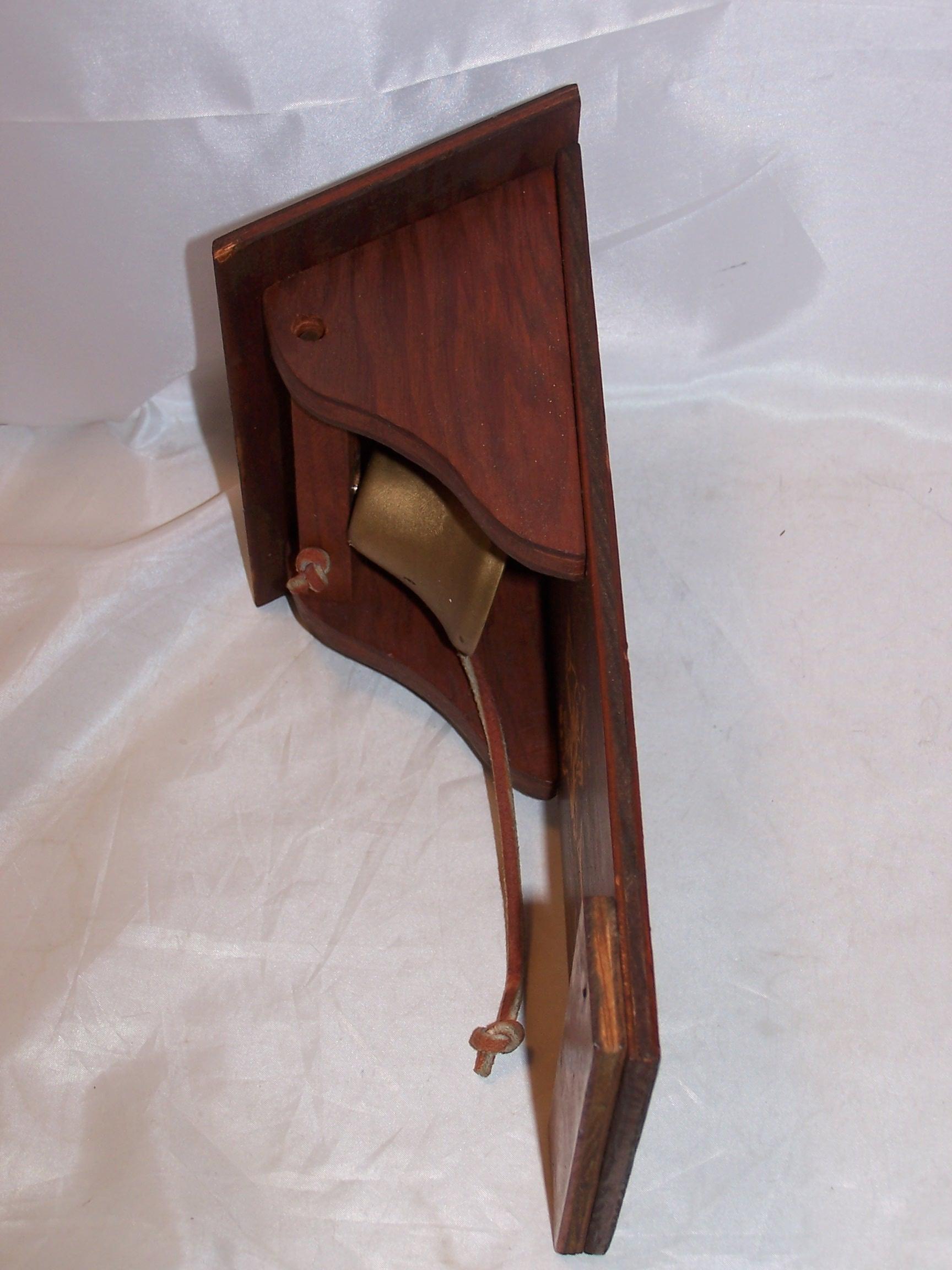 Image 3 of Cowboy Dinner Bell, Wood, Metal, Vintage
