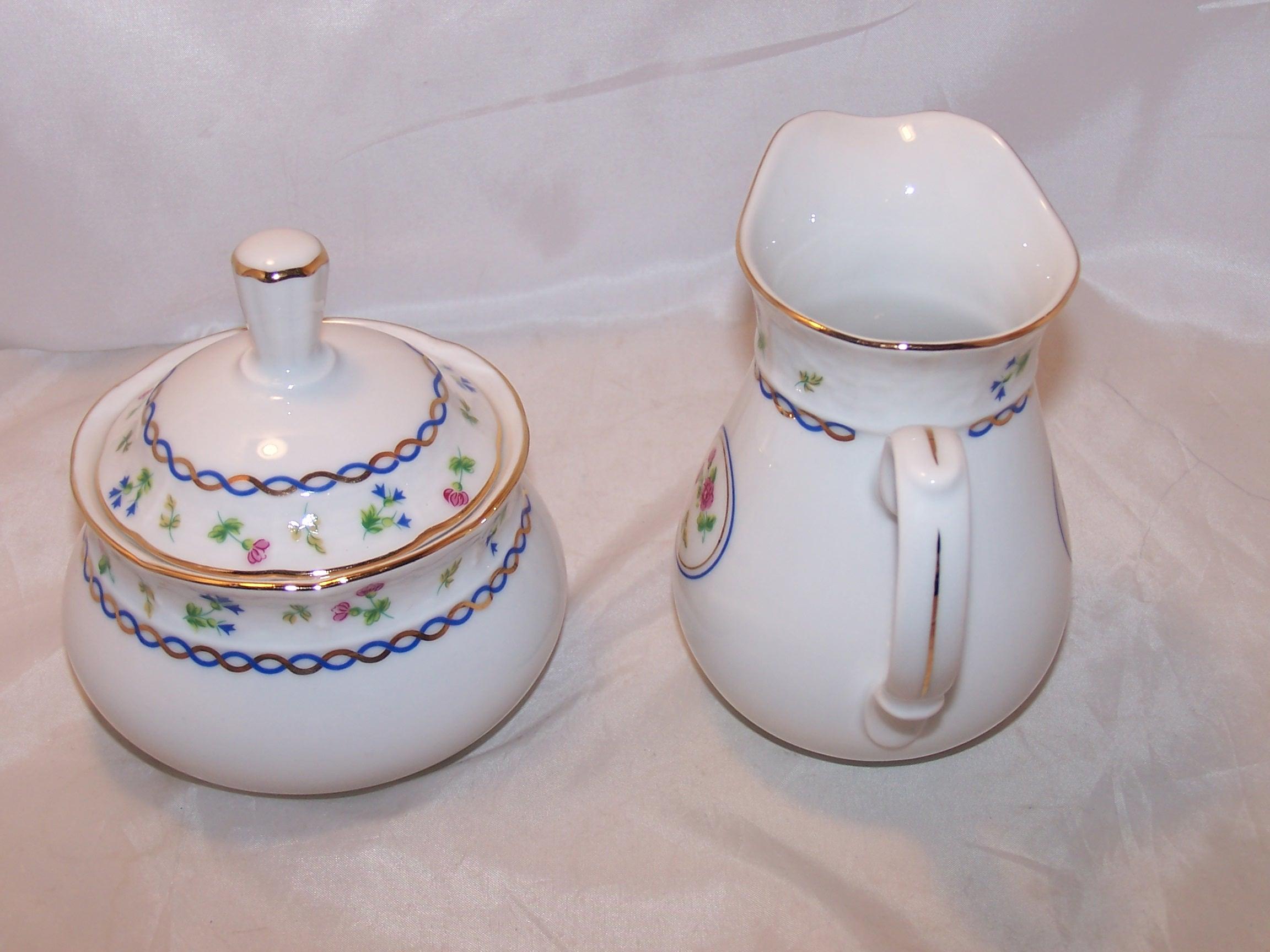 Image 1 of Baum Bros Thun Porcelain Creamer and Sugar, Czechoslovakia