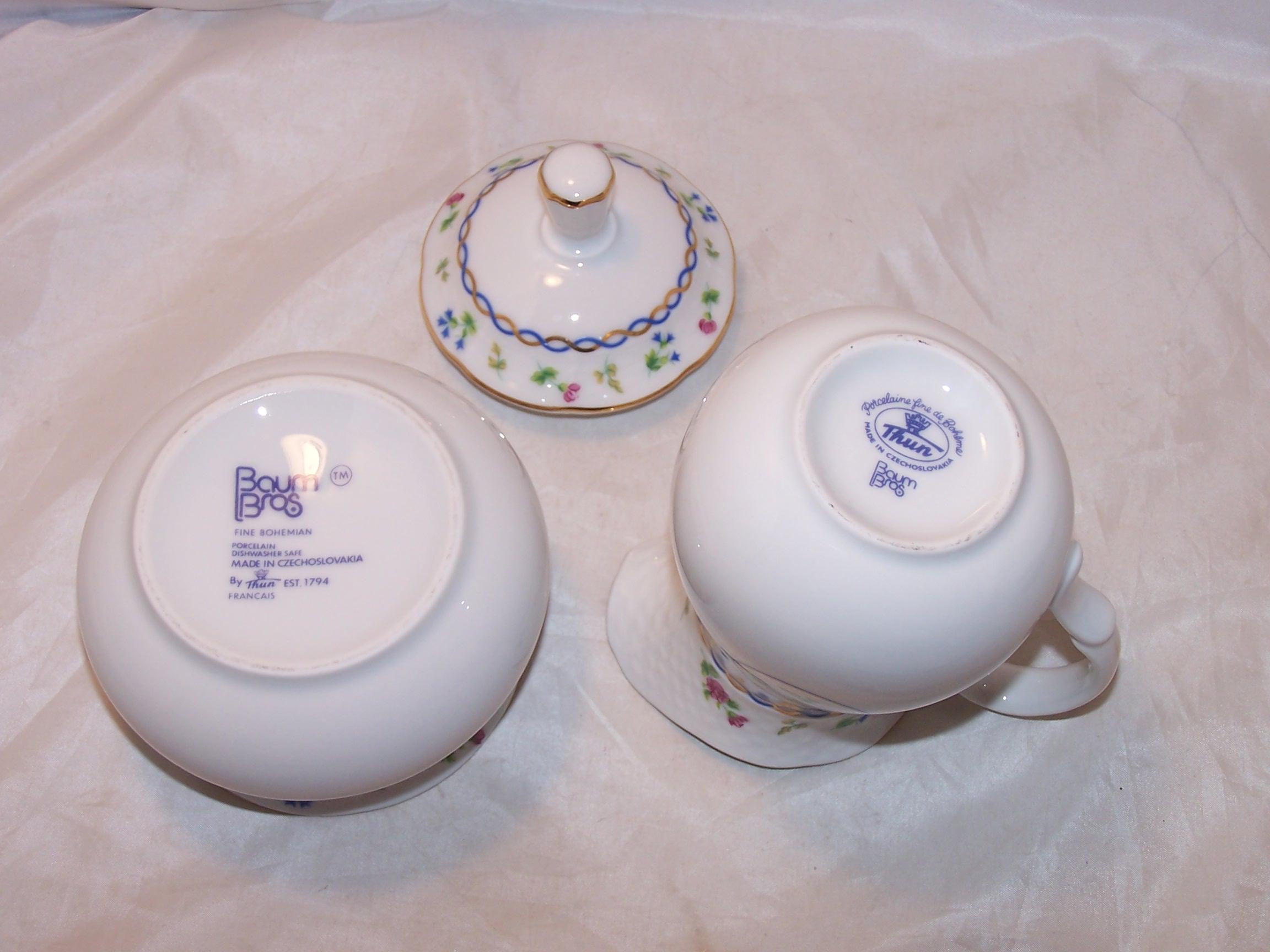 Image 5 of Baum Bros Thun Porcelain Creamer and Sugar, Czechoslovakia