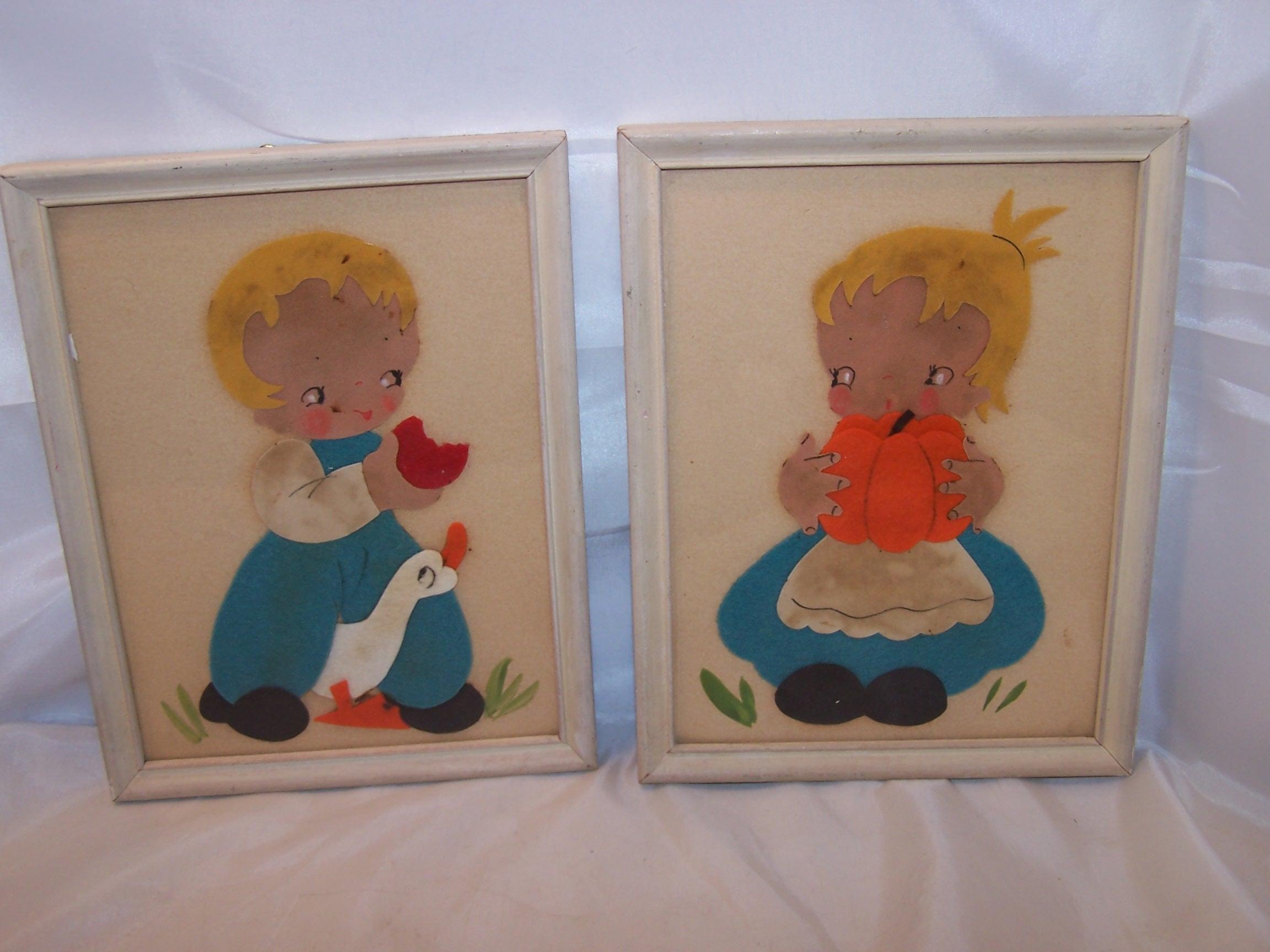 Fall Harvest Girl, Boy Framed Felt Pictures, Vintage Folk Art