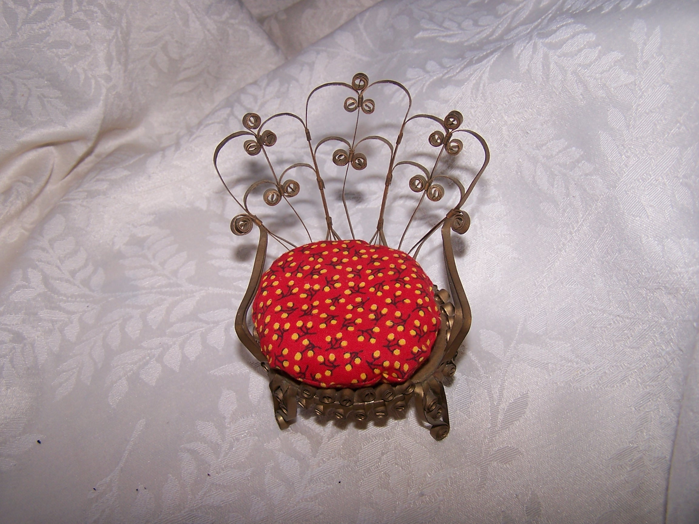 Quilled Pin Cushion Chair, Curved Back, Gold, Folk Art, Vintage