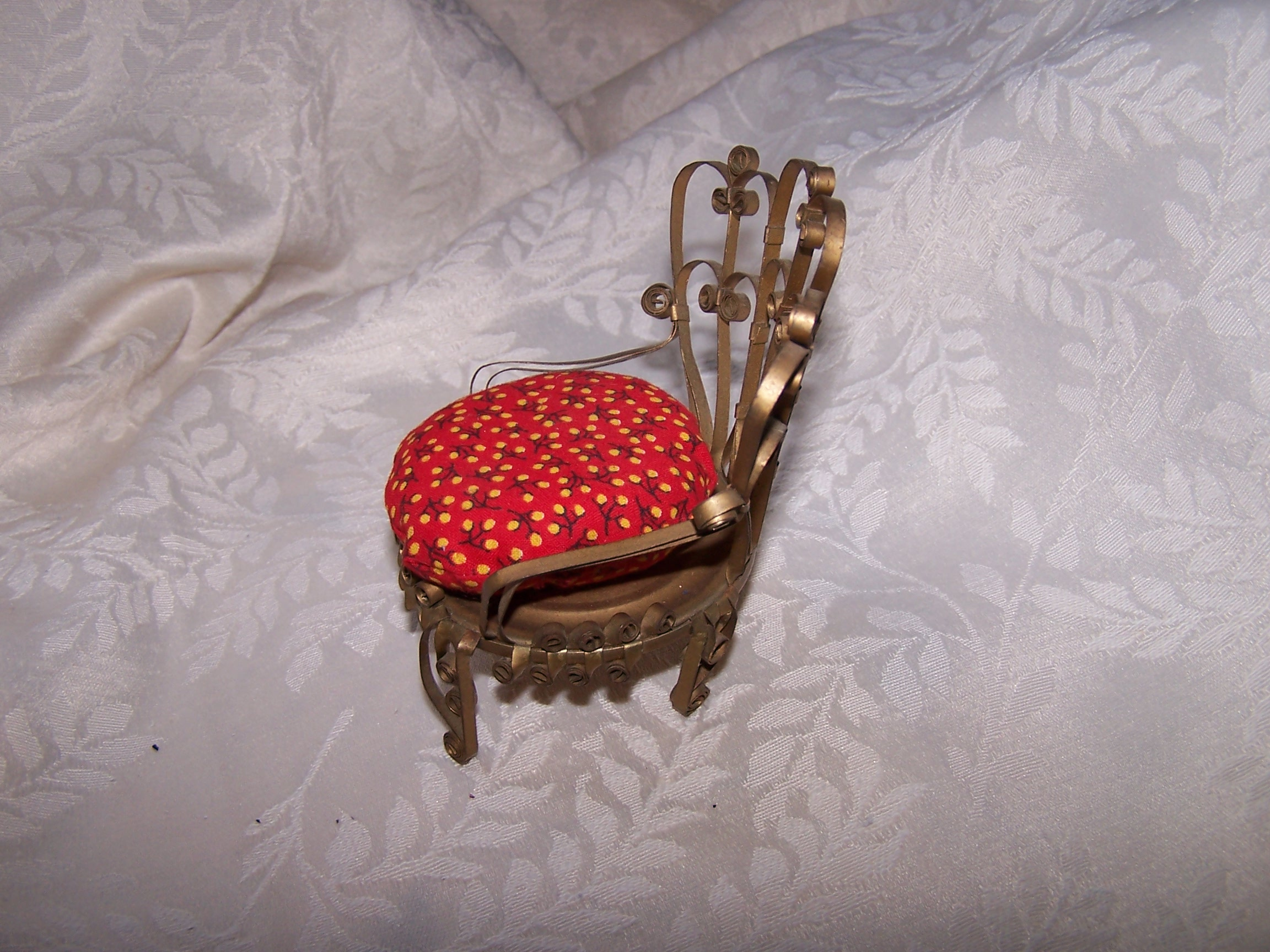 Image 1 of Quilled Pin Cushion Chair, Curved Back, Gold, Folk Art, Vintage