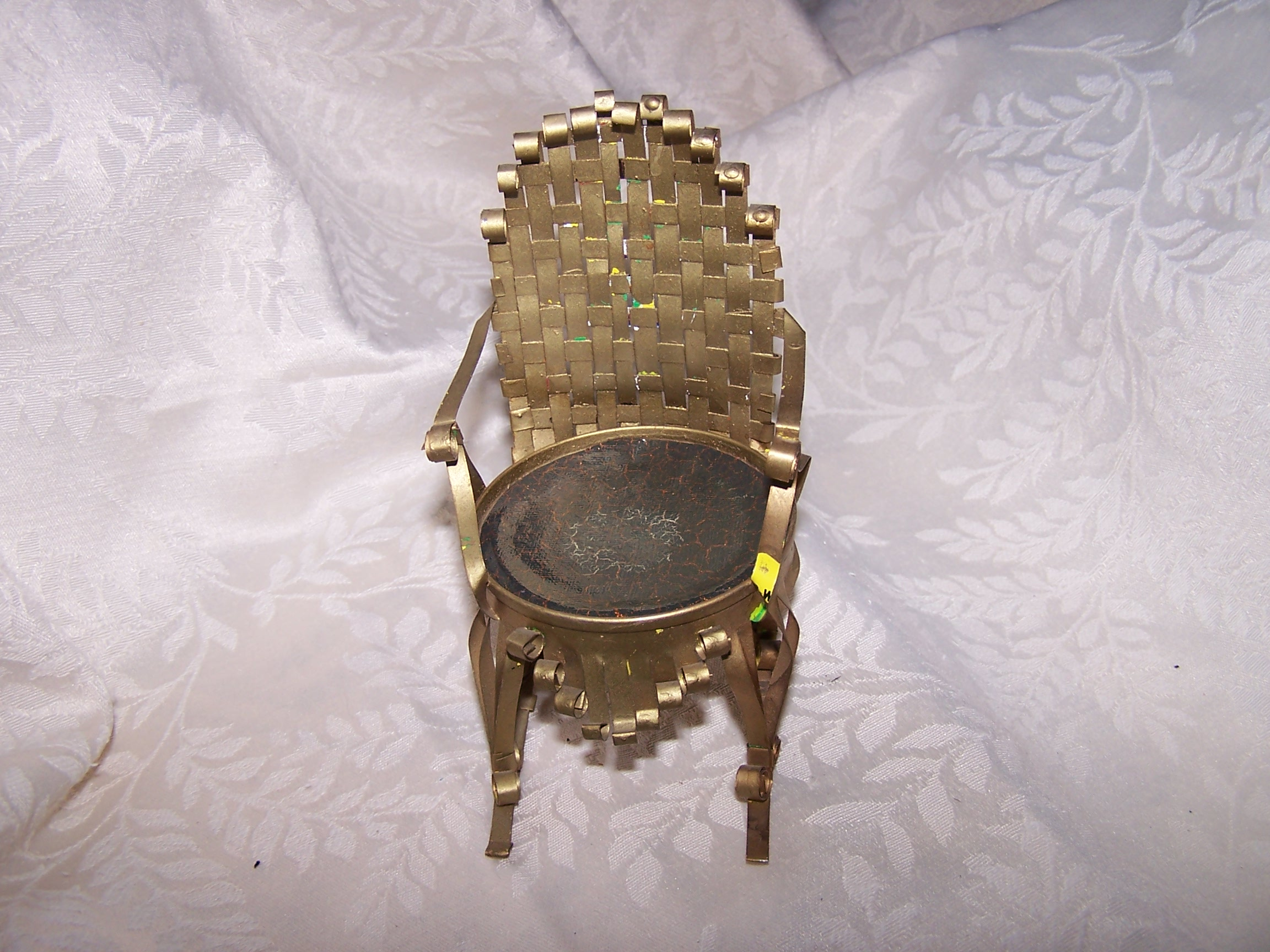 Quilled Woven Back Rocking Chair, Gold, Vintage