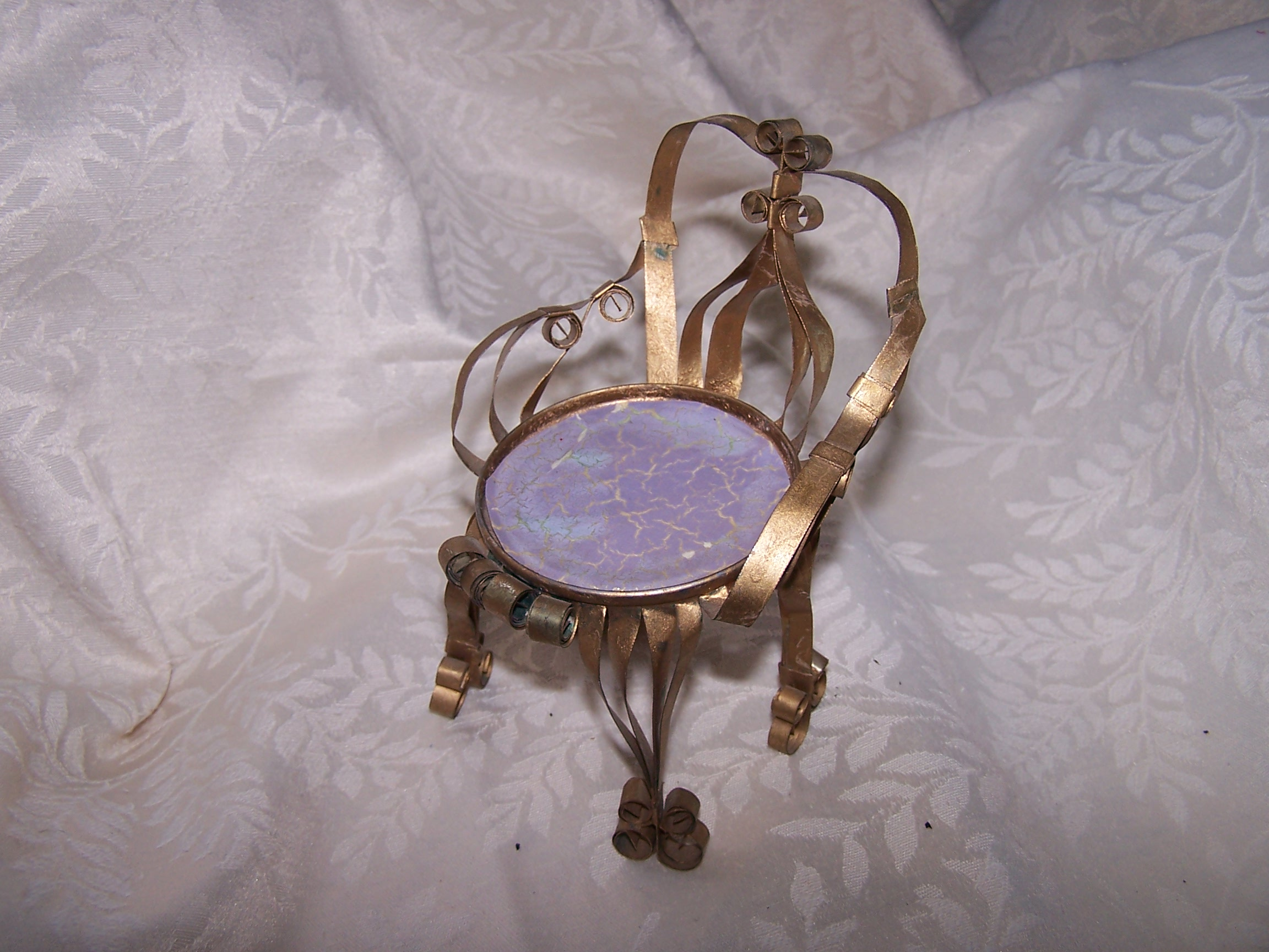 Quilled Chair w Purple, Blue, Gold Crackle Seat, Vintage