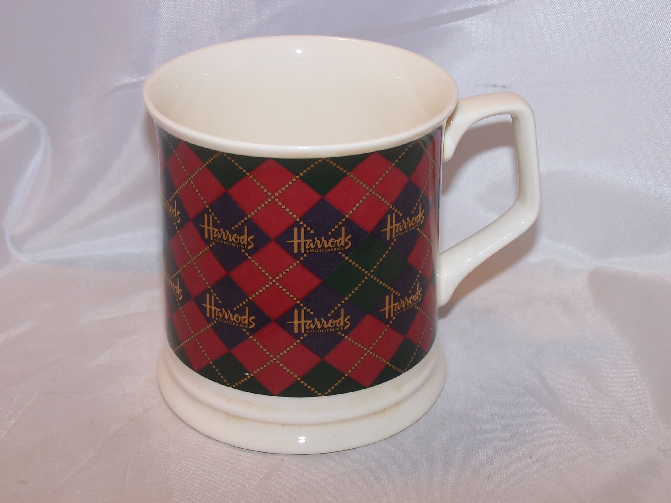 Harrods Plaid Mug, Cup, Knightsbridge, Green, Red