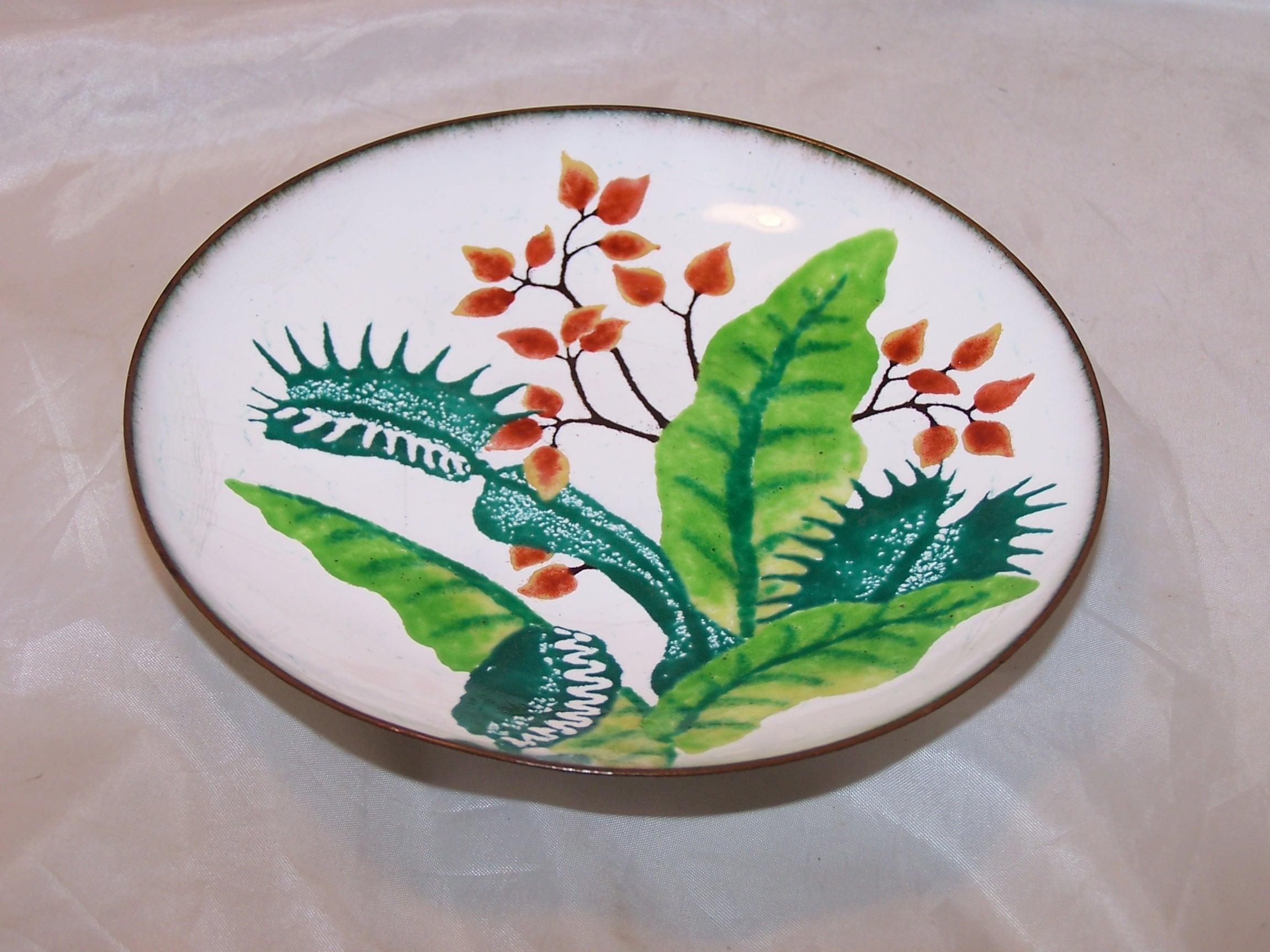 Marg Russell Venus Flytrap Enamel Copper Bowl, Artist Signed