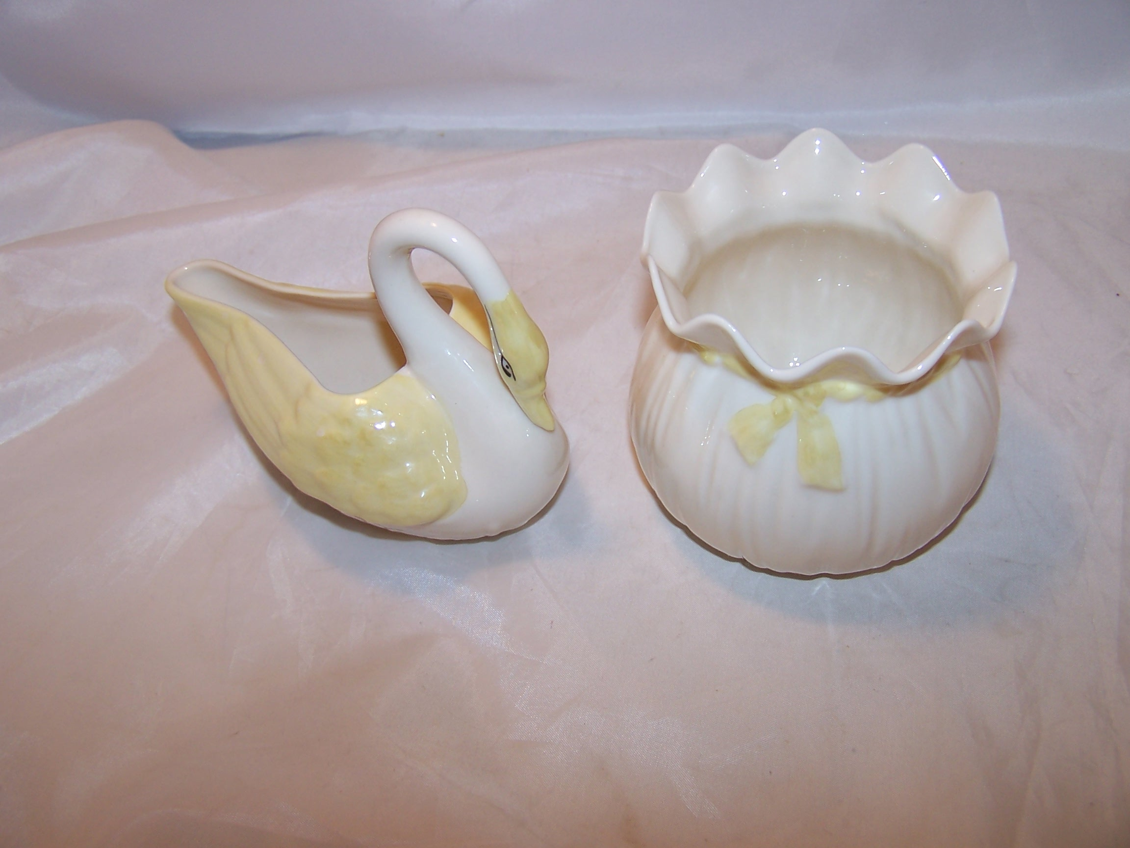 Belleek Ireland, First Brown Mark, Swan Creamer, Bag Sugar