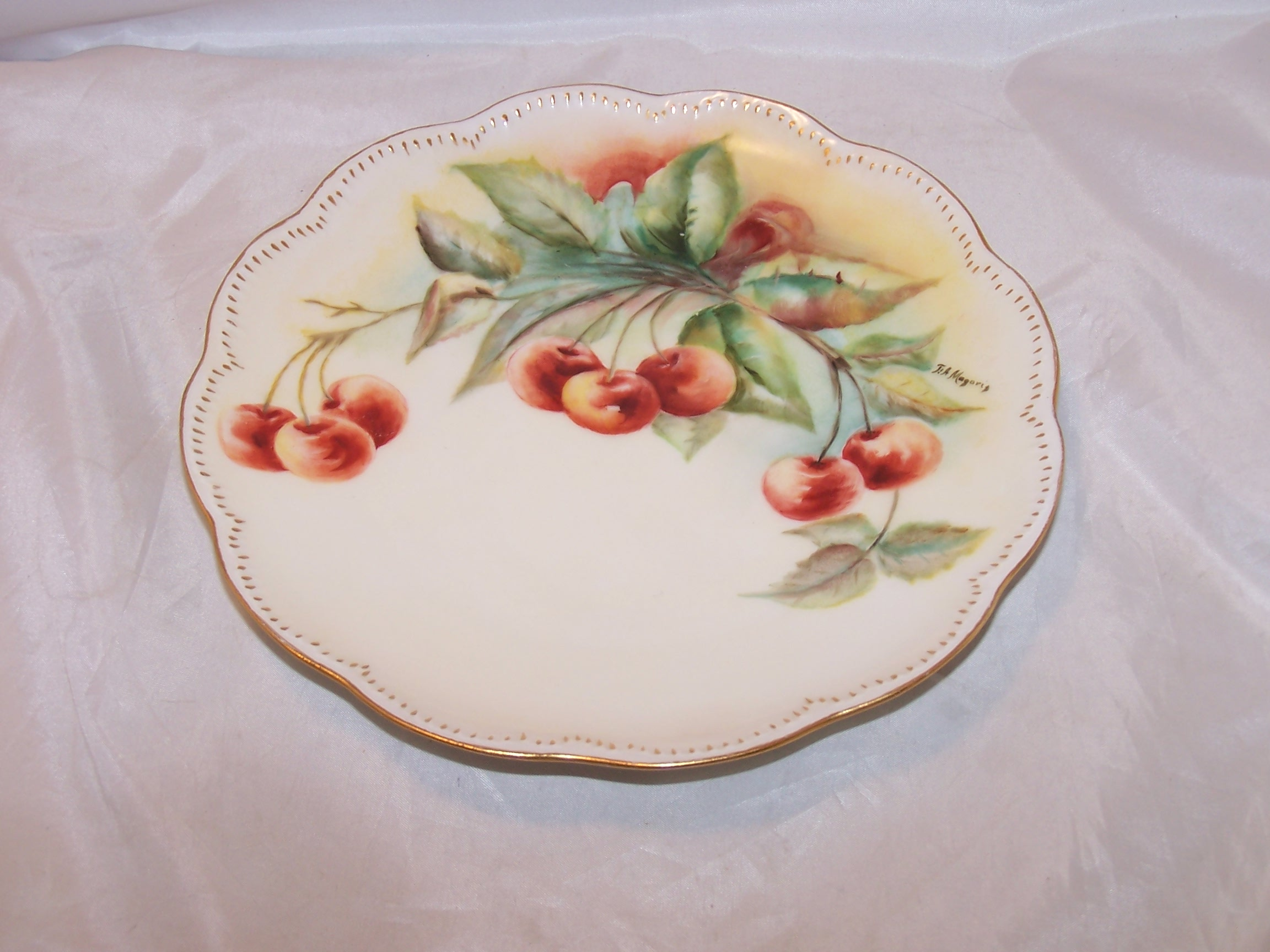 Image 4 of Haviland France Cherry Branch Plate, Artist Signed Magoris