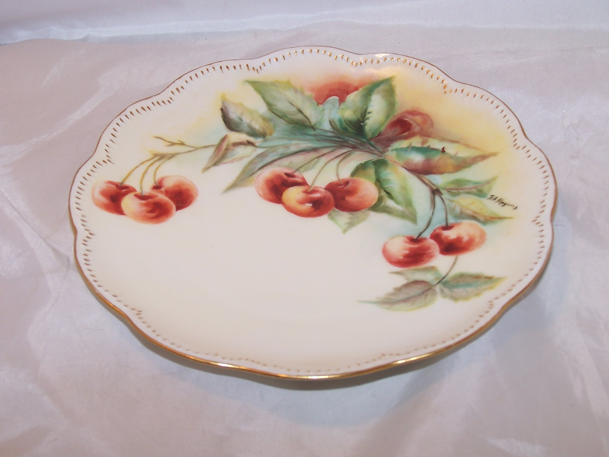 Image 3 of Haviland France Cherry Branch Plate, Artist Signed Magoris