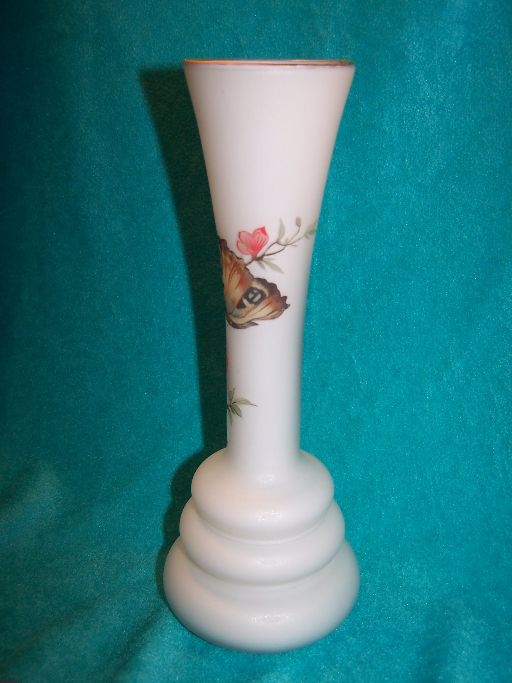 Image 3 of Milk Glass Butterfly Vase, Italian Satin Glass