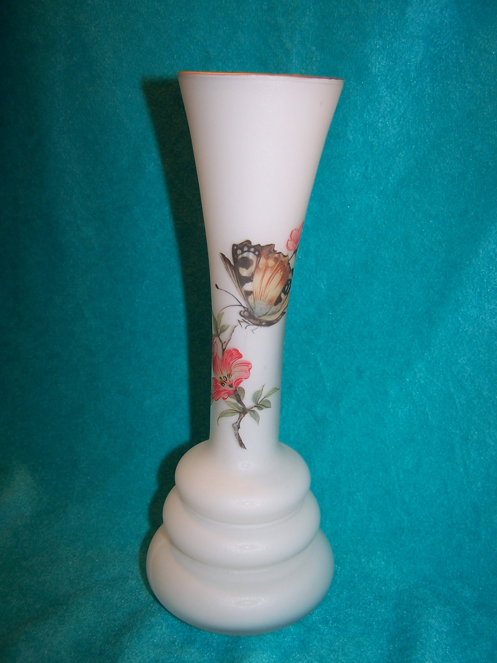 Image 6 of Milk Glass Butterfly Vase, Italian Satin Glass