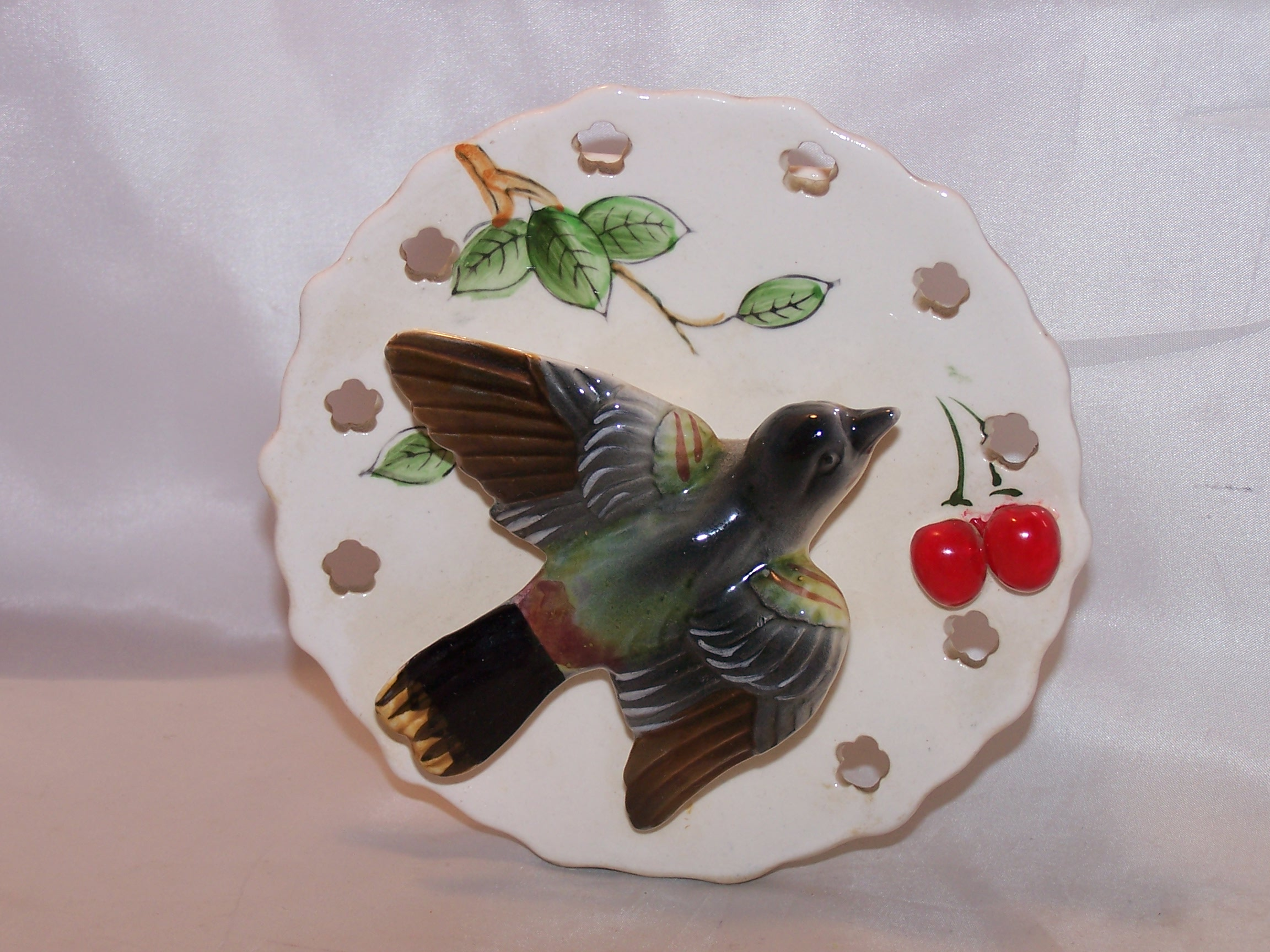 Lipper and Mann Wall Pocket Vase w Bird, Cherries