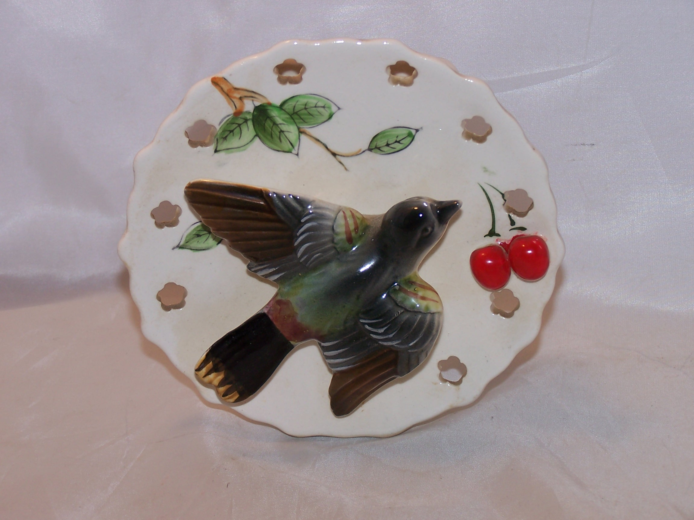 Image 6 of Lipper and Mann Wall Pocket Vase w Bird, Cherries