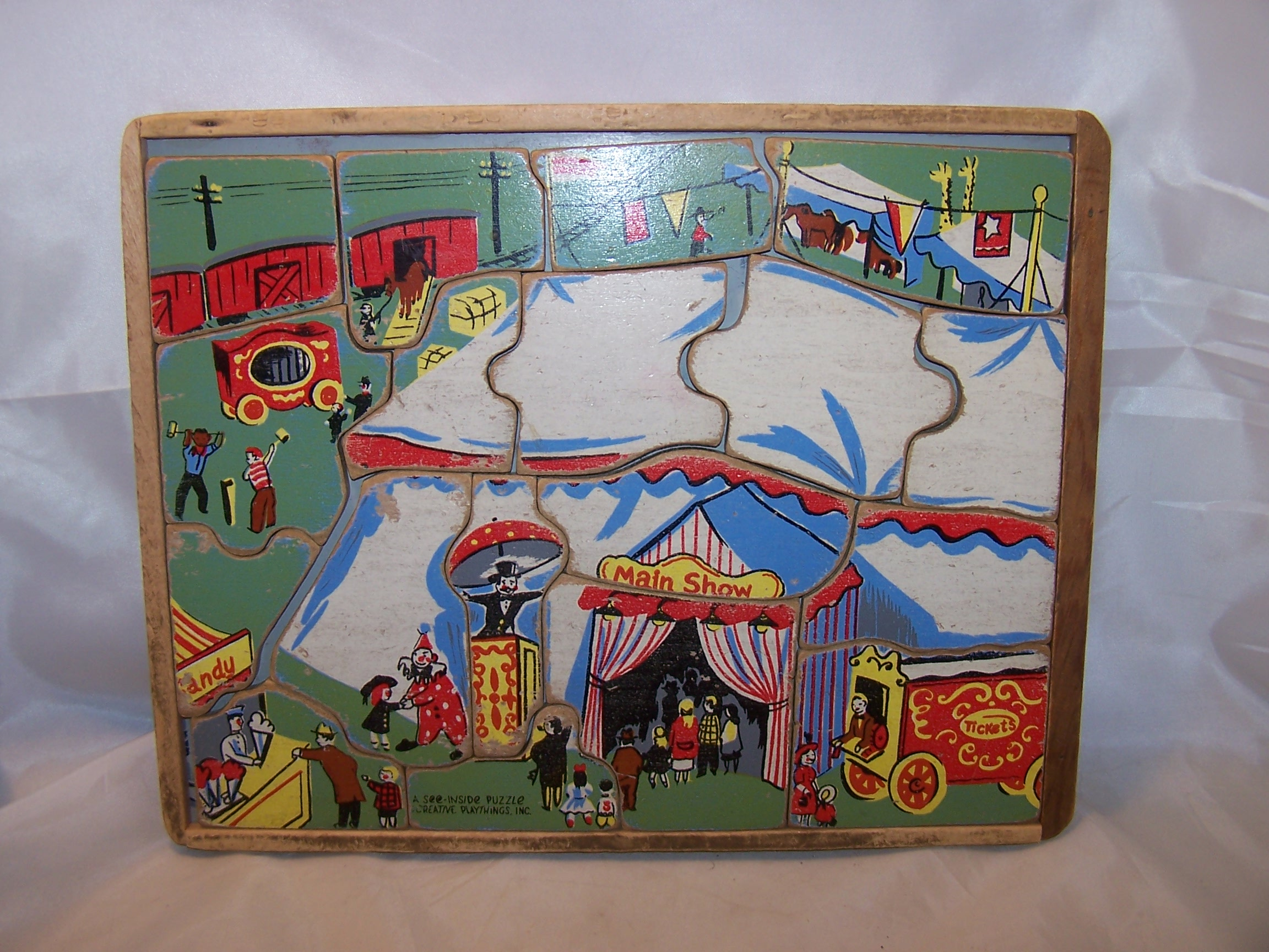 Circus See Inside Wood Puzzle, Vintage, Creative Playthings