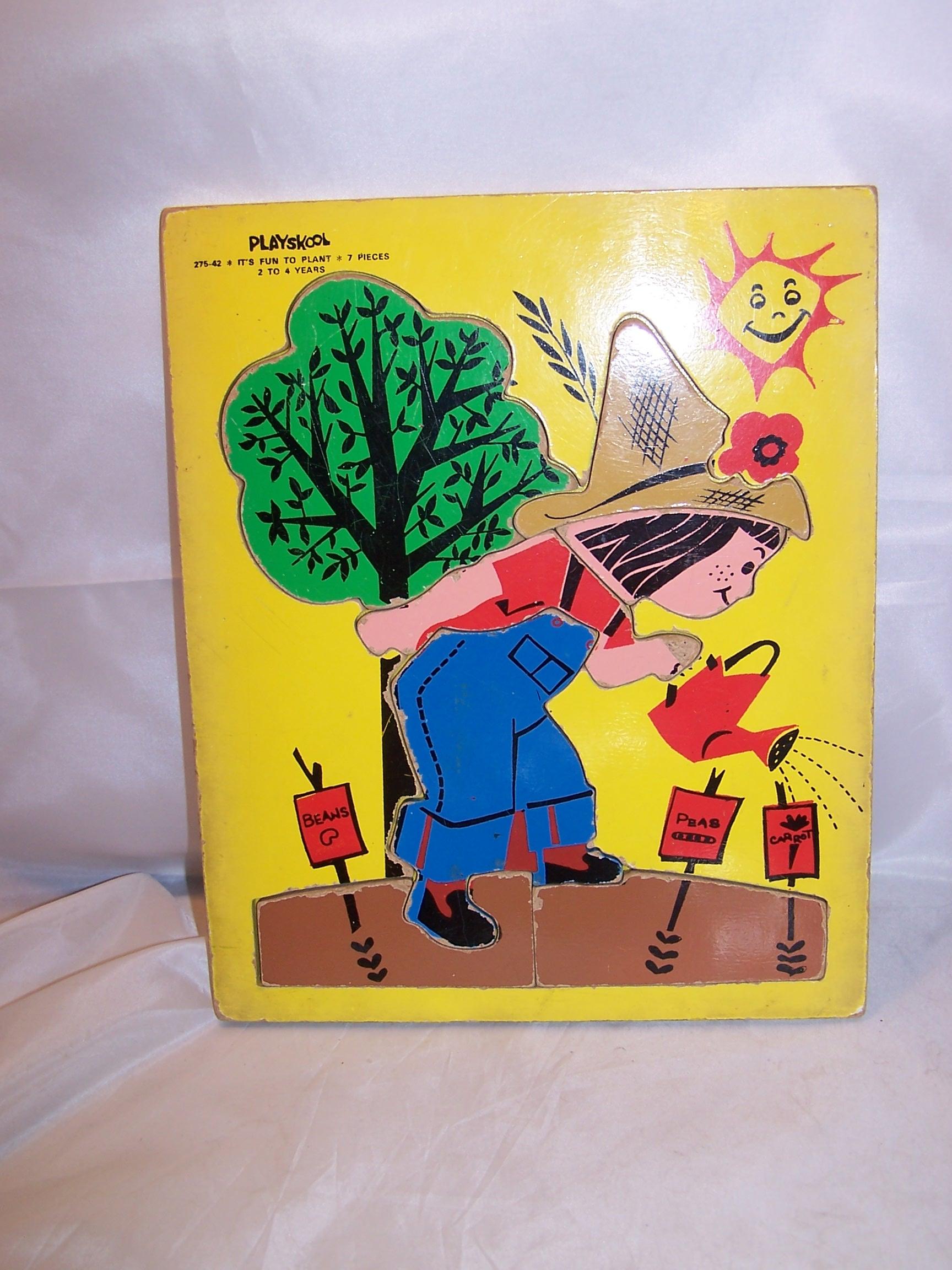 Gardening Girl Wood Puzzle, Vintage, Playskool, 275-42