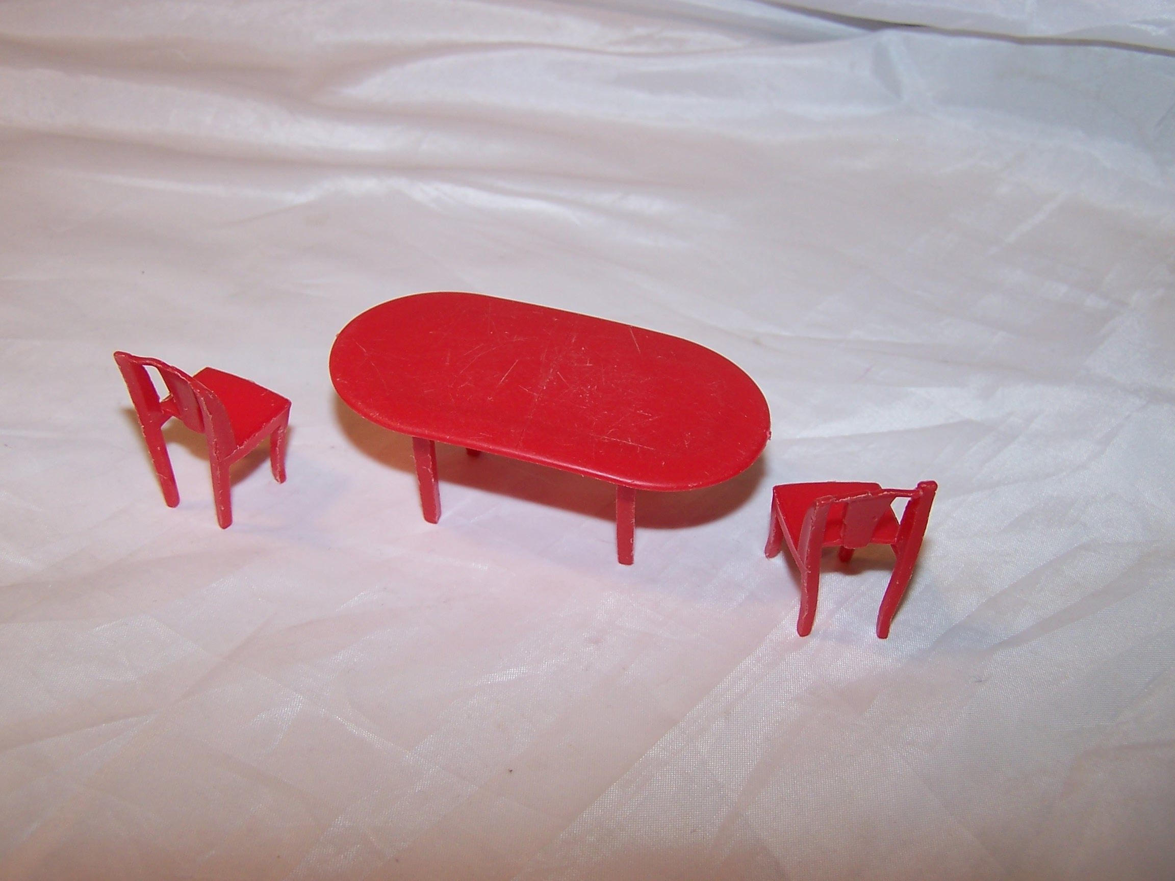 Image 1 of Dollhouse Table and Chairs, Red Plastic, Vintage