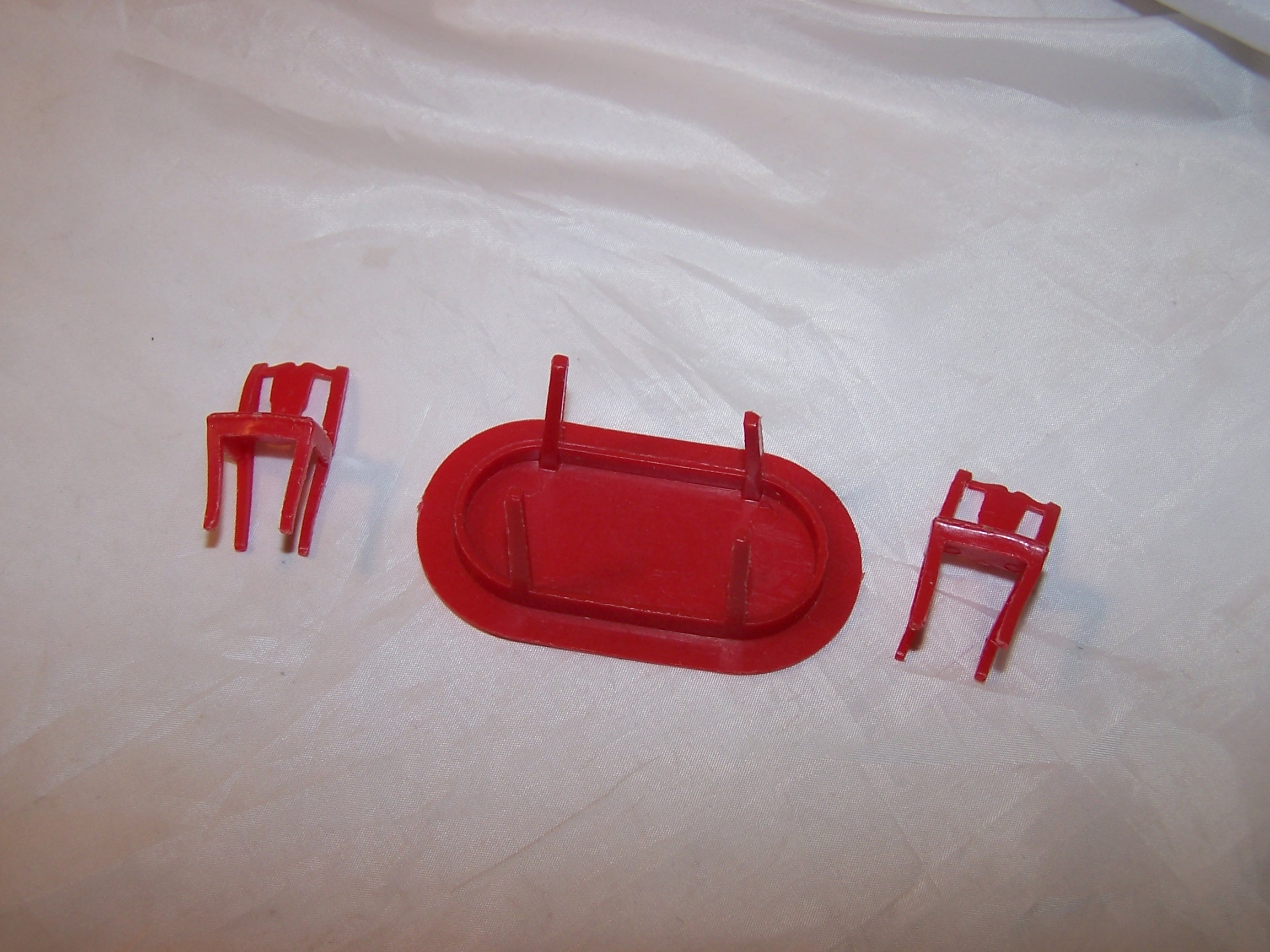 Image 2 of Dollhouse Table and Chairs, Red Plastic, Vintage