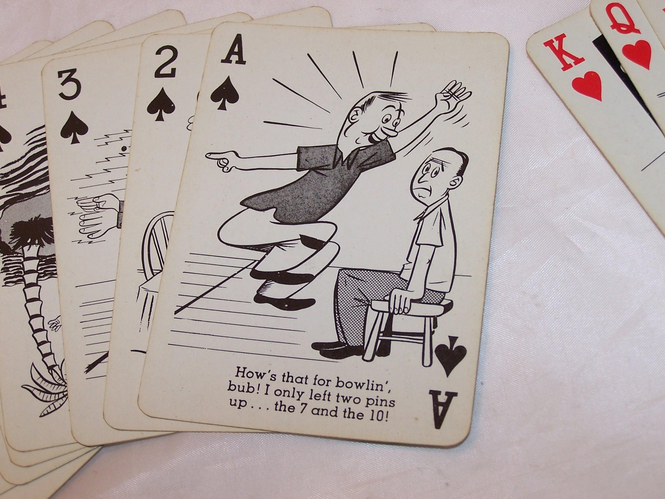 Image 3 of Playing Cards Bowling Jokes, Poker Size, Vntg Orig Pkg