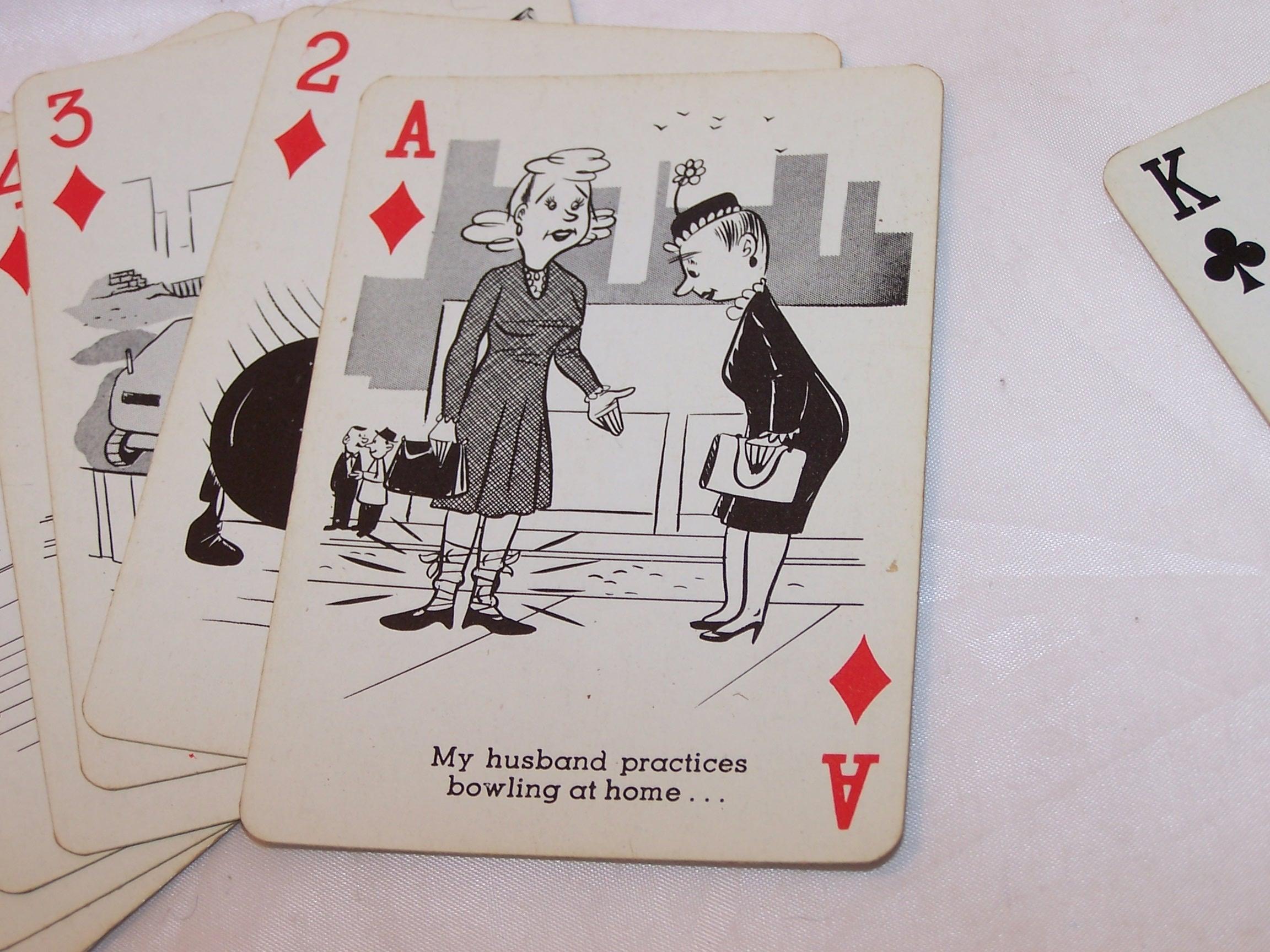 Image 4 of Playing Cards Bowling Jokes, Poker Size, Vntg Orig Pkg