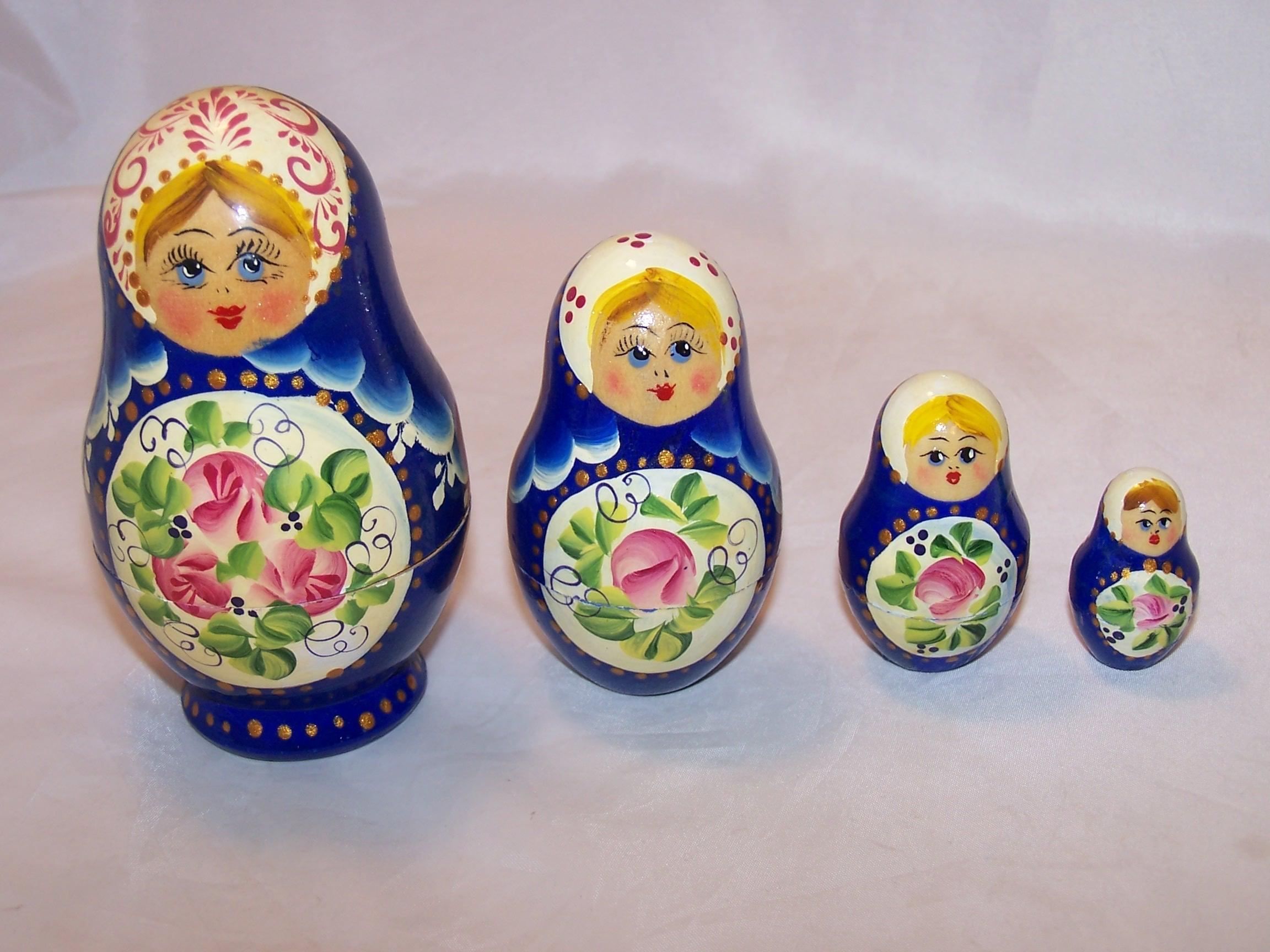 Nesting Doll in Blue, Flowers