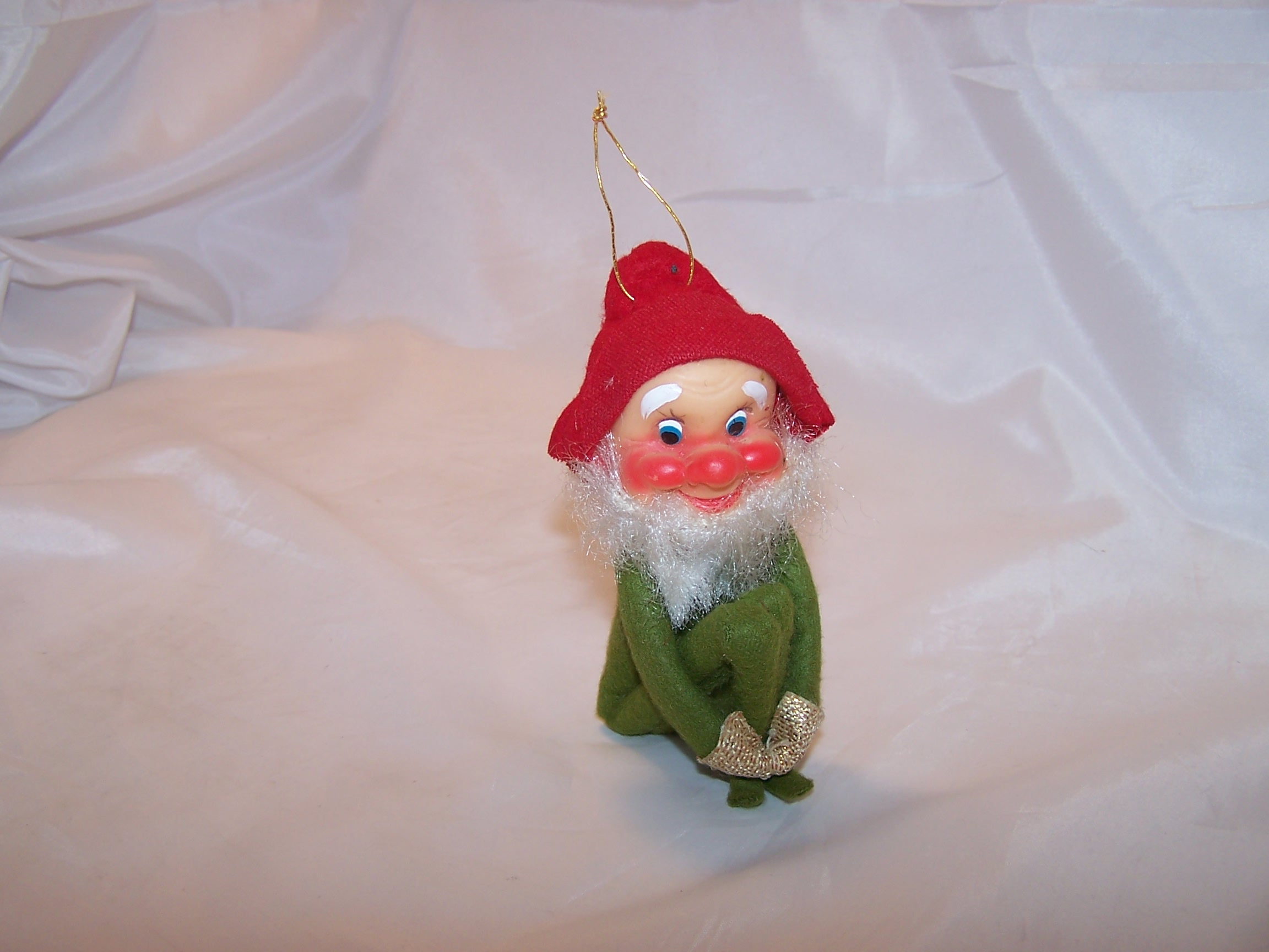 Elf for Your Shelf, Bearded Green Elf, Pixie Doll w Red Hat