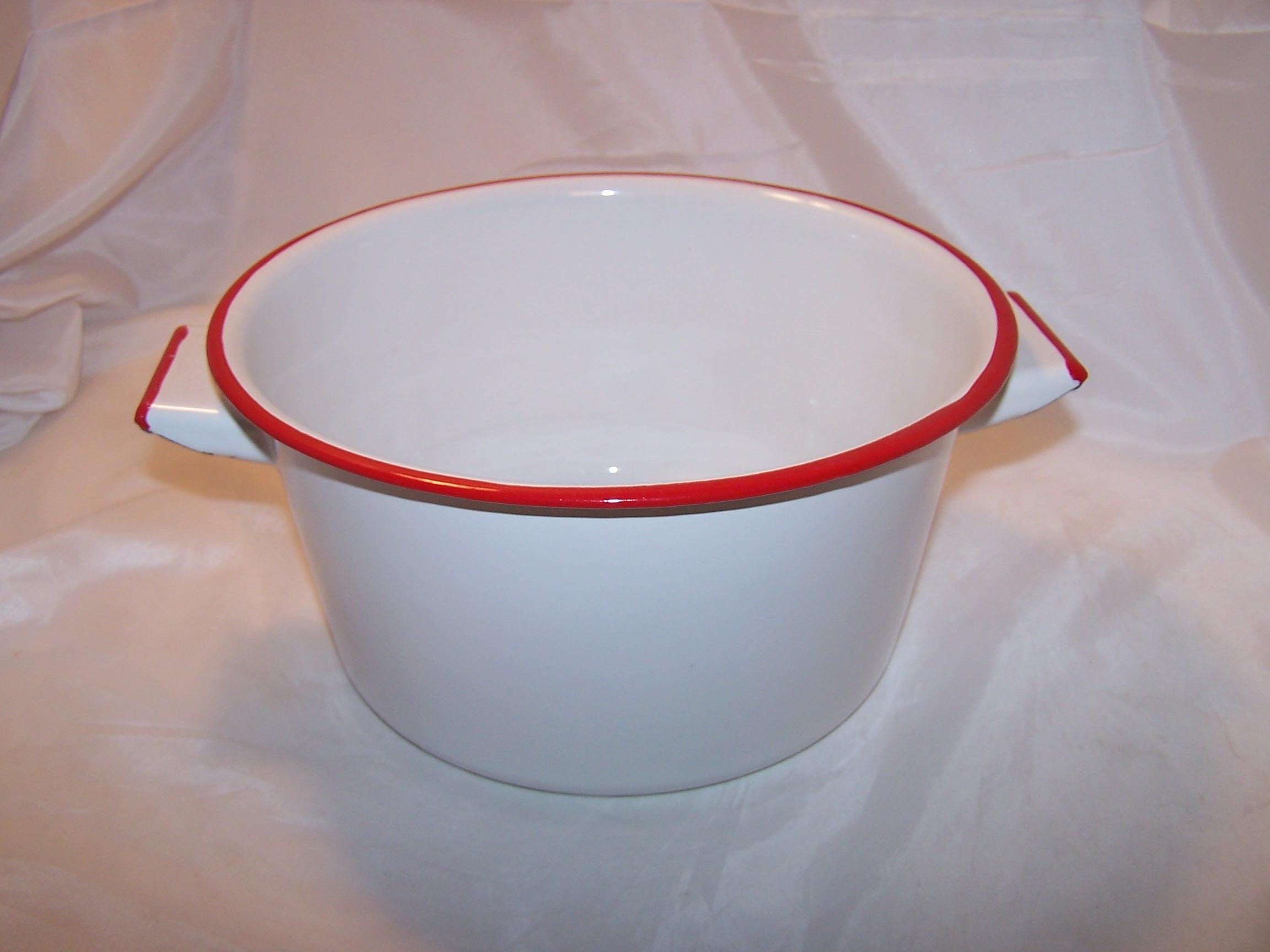 Enamelware Enamel Clad Cooking Pot Red White Vintage