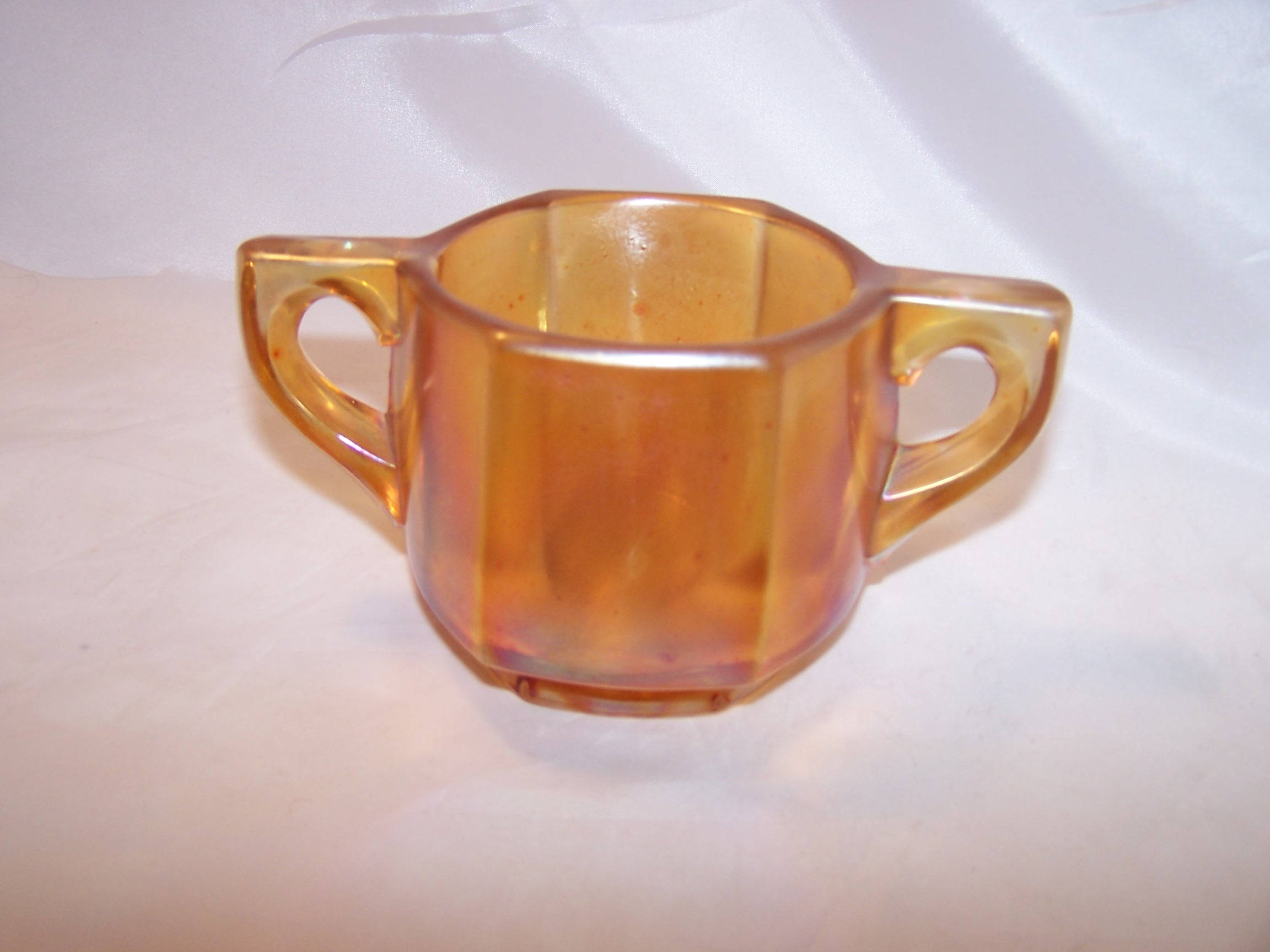 Yellow Carnival Glass Sugar Bowl Vintage Iridescent Thick Glass
