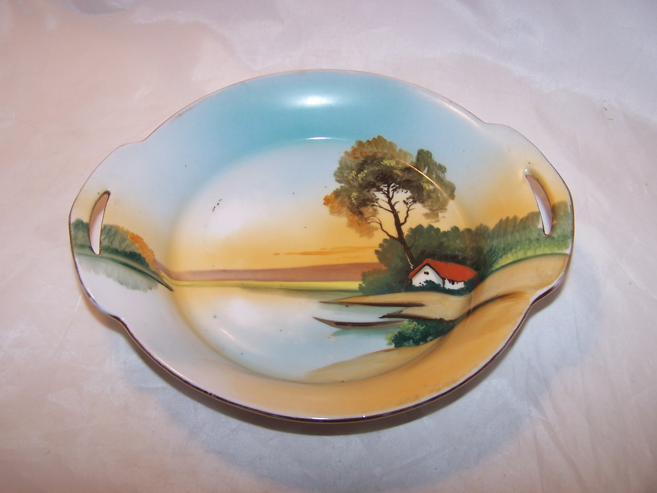 Veggie Bowl, Hand Painted, Lake Scene, Japan, Vintage