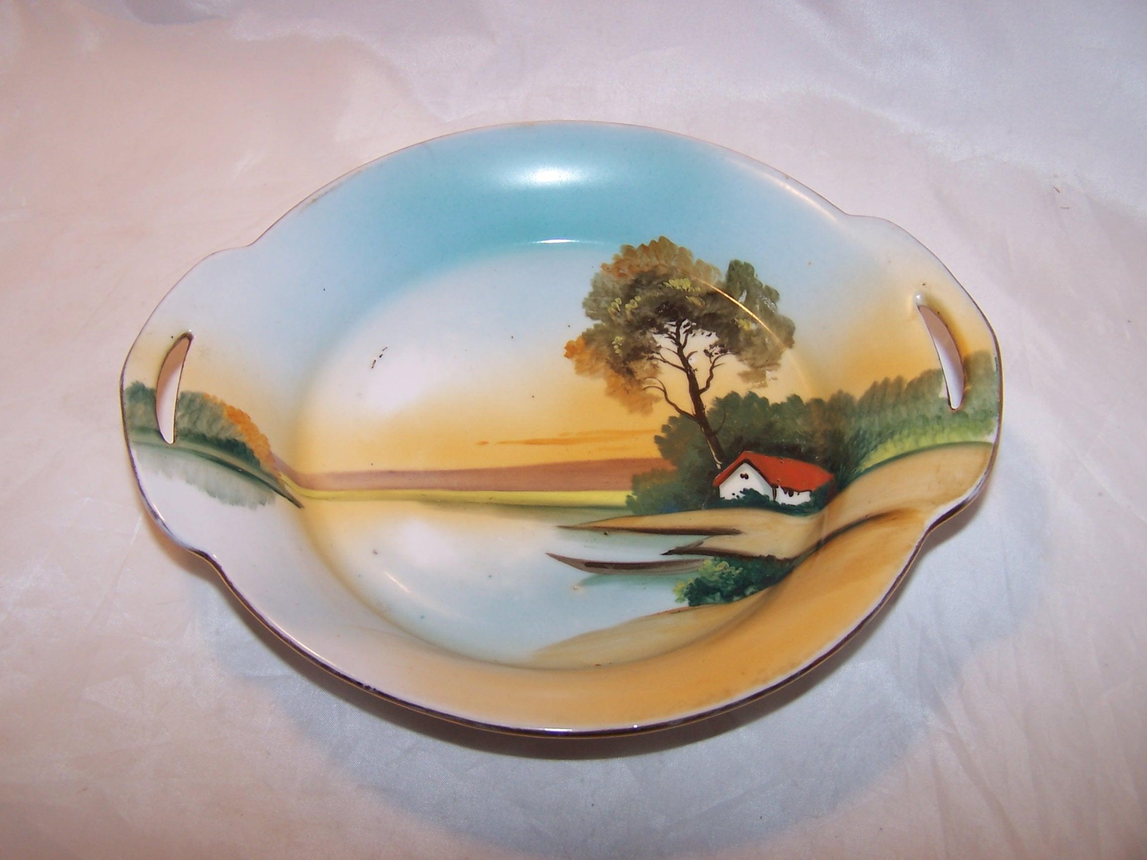 Veggie Bowl, Hand Painted, Lake Scene, Japan, Vintage