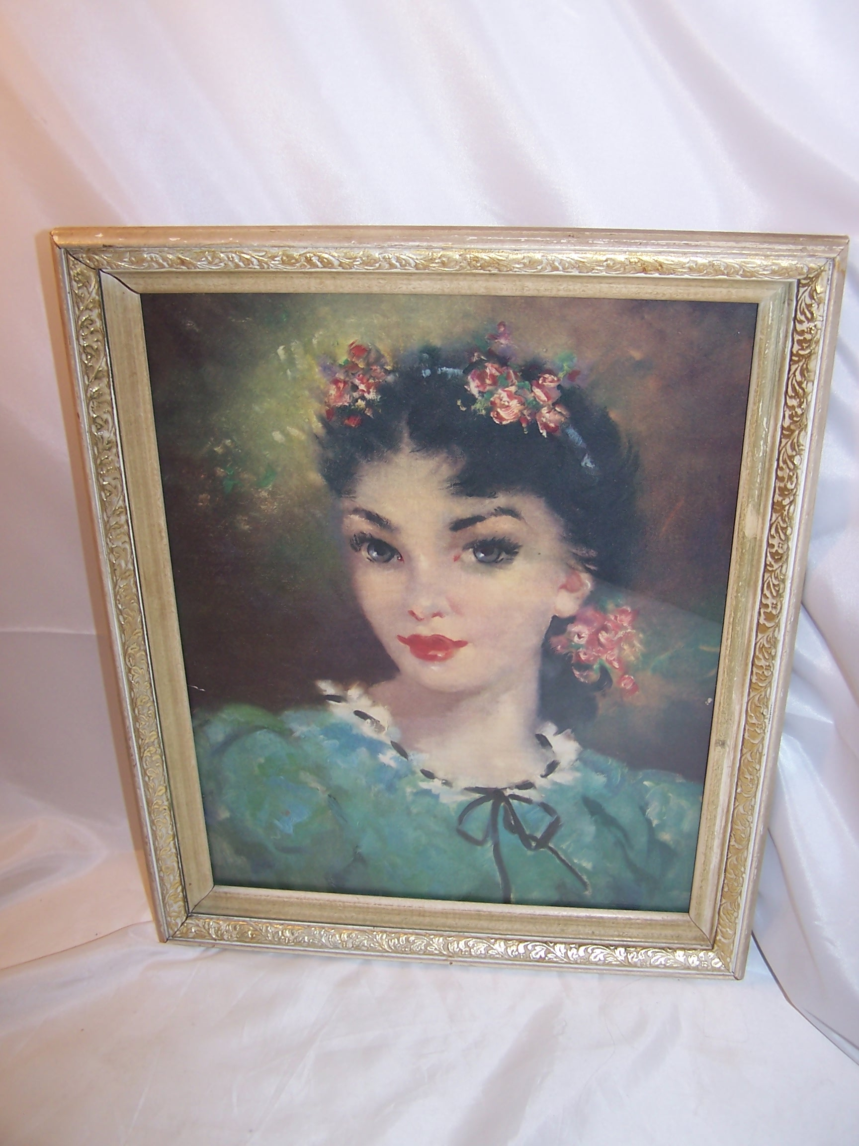 Dark Haired Beautiful Woman Lithograph, Vintage, Framed