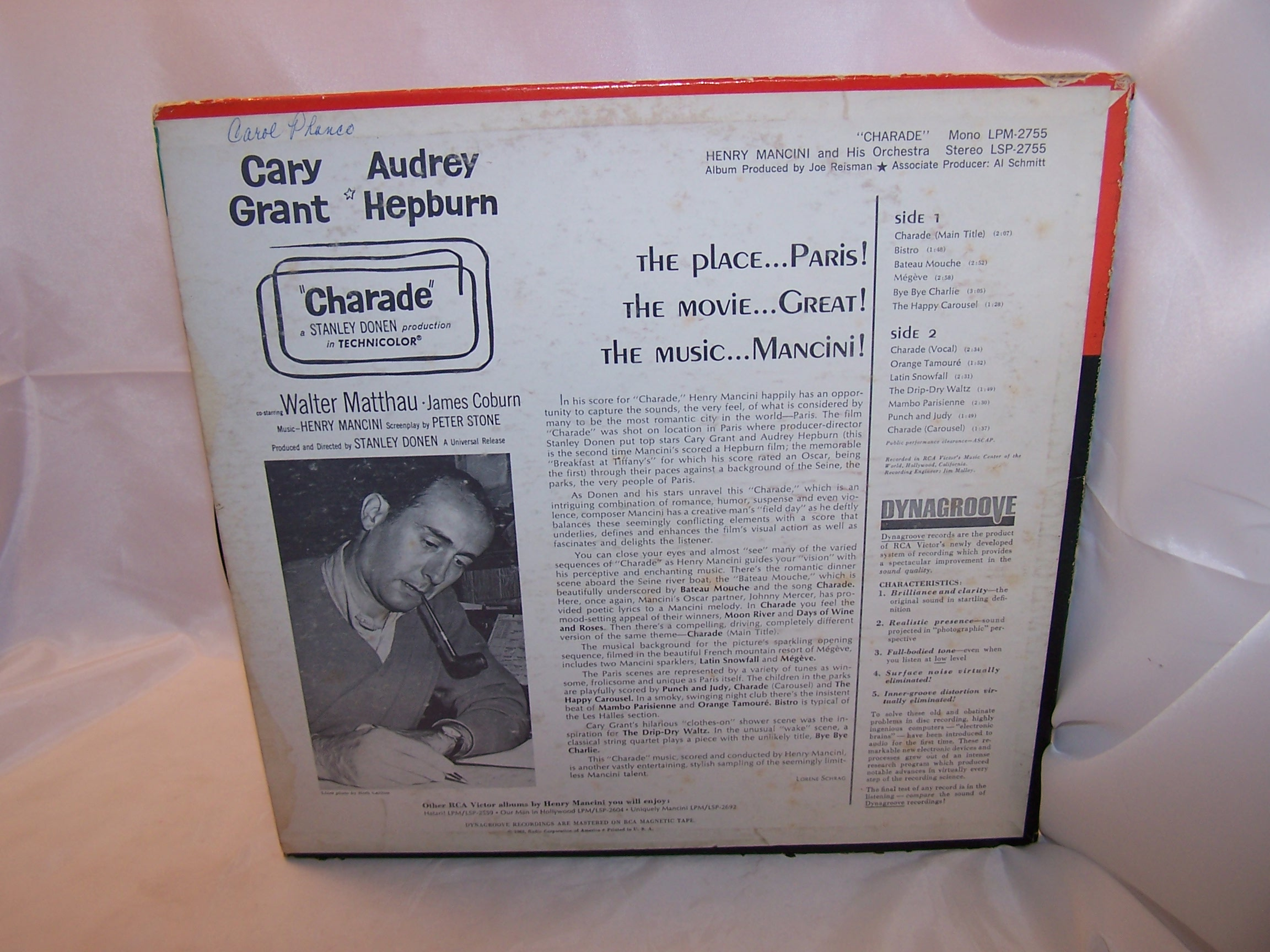 Image 1 of Henry Mancini, Charade, from the Movie Score, Cary Grant, Audrey Hepburn, 1963