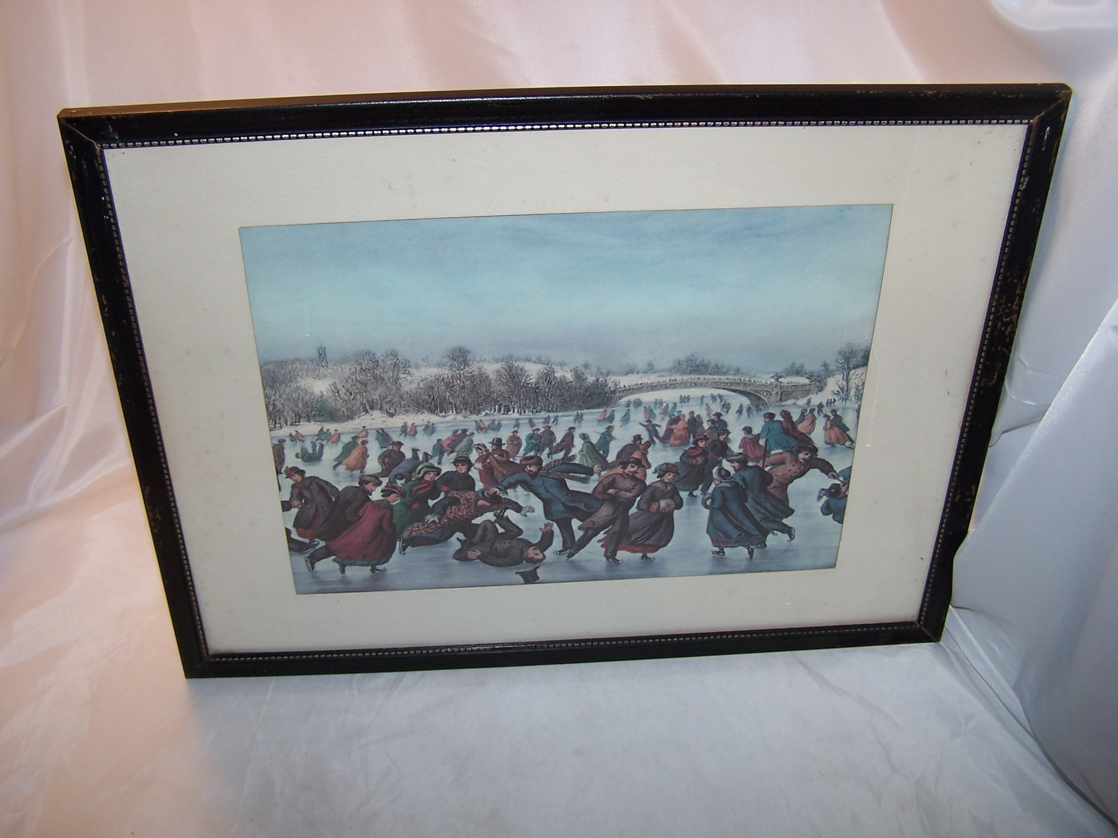 Currier & Ives, The Skating Carnival, Framed 1963 Calendar Page