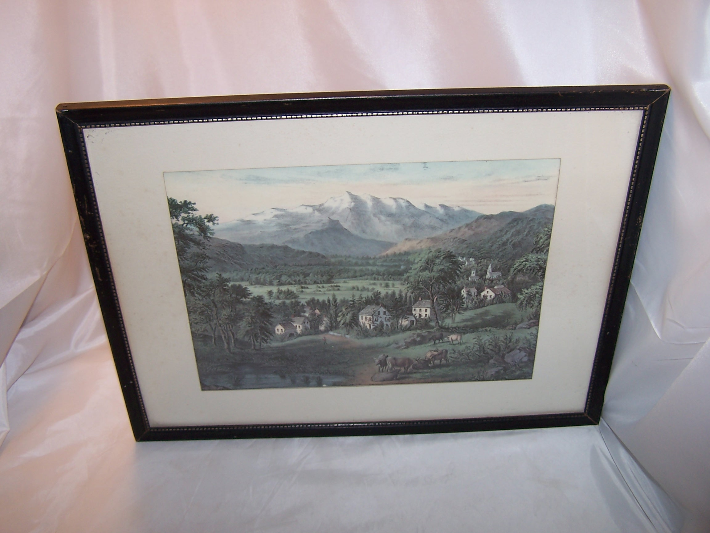 Currier & Ives, Mount Washington, Framed 1963 Calendar Page