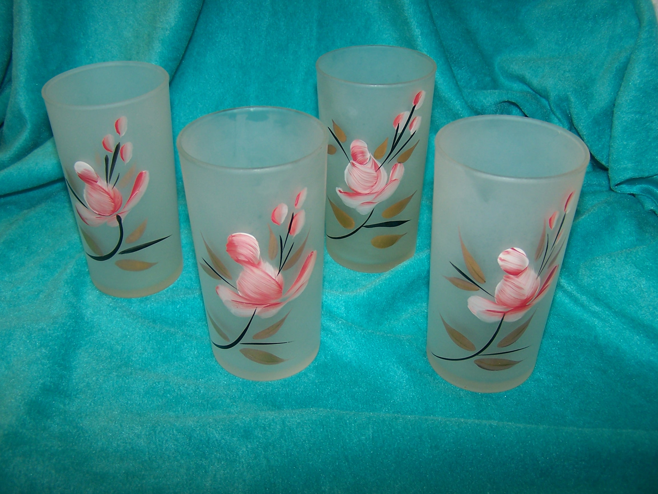 Frosted Glasses w Pink Rosebud, Gold Leaves, Set of Four, Vintage