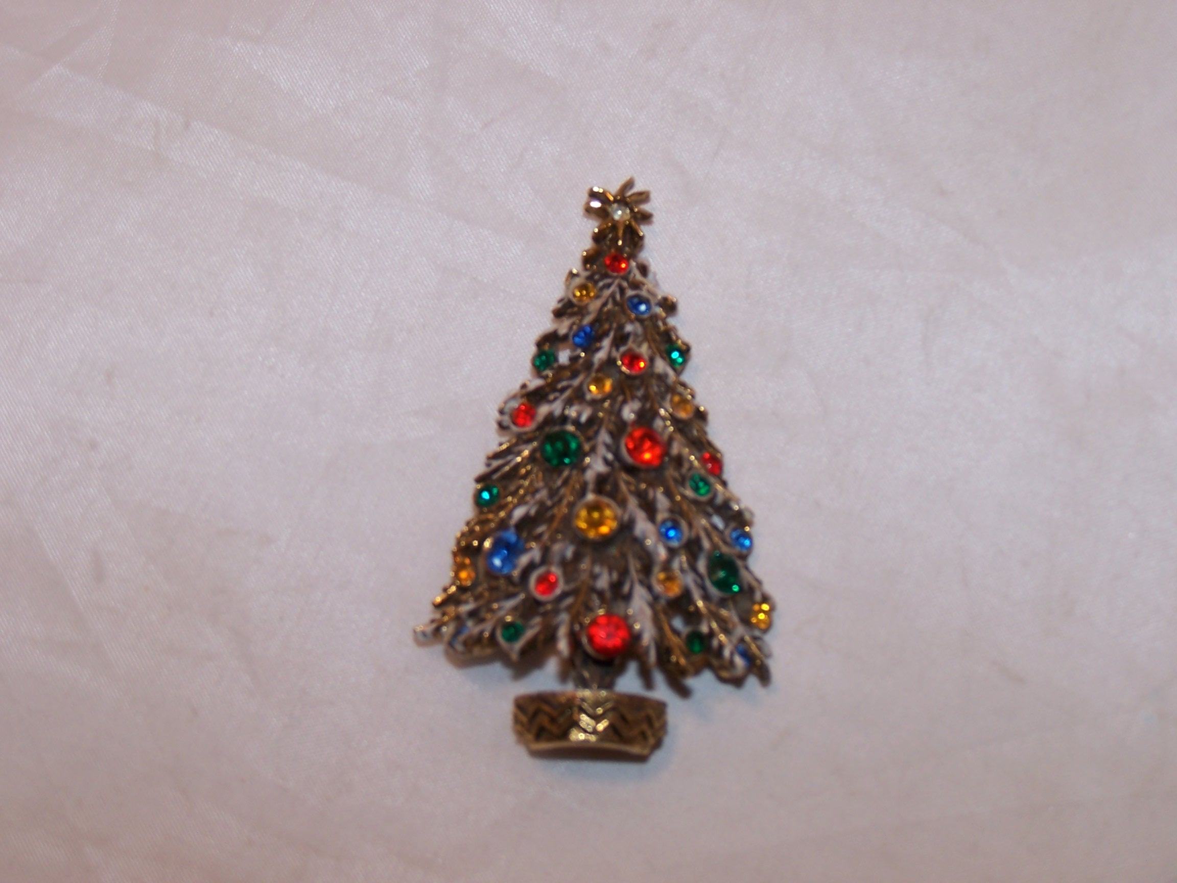 Christmas Tree Brooch, Pin, Multi Color Stones, Gold, ART