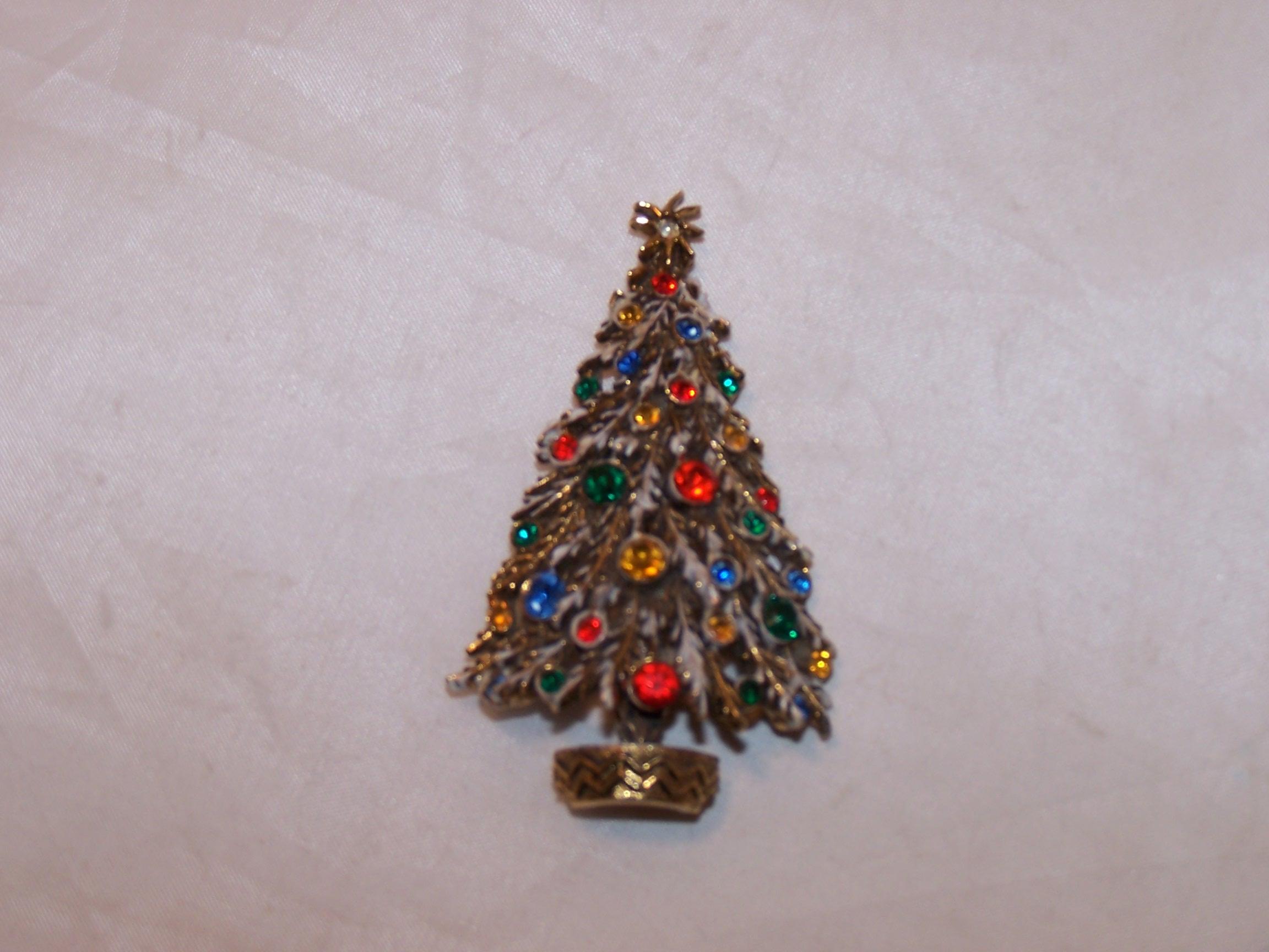 Christmas Tree Brooch, Pin, Multi Color Stones, Gold, ART