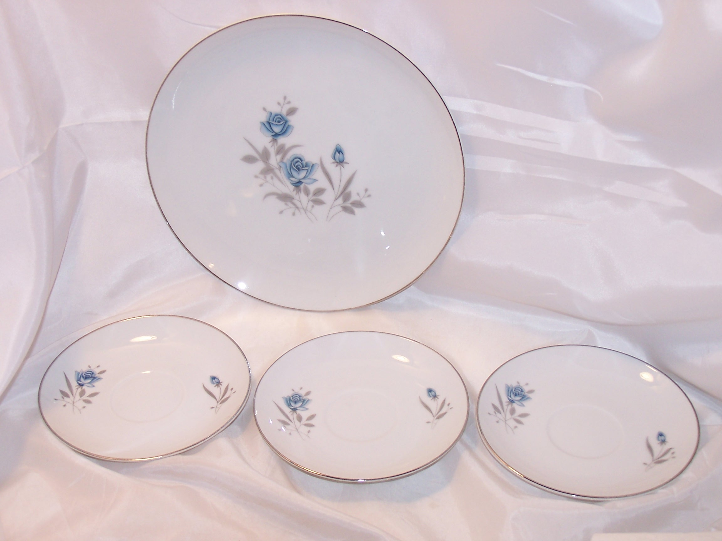 Royal Taunton Blue Rose Plate, Saucers, Fine China