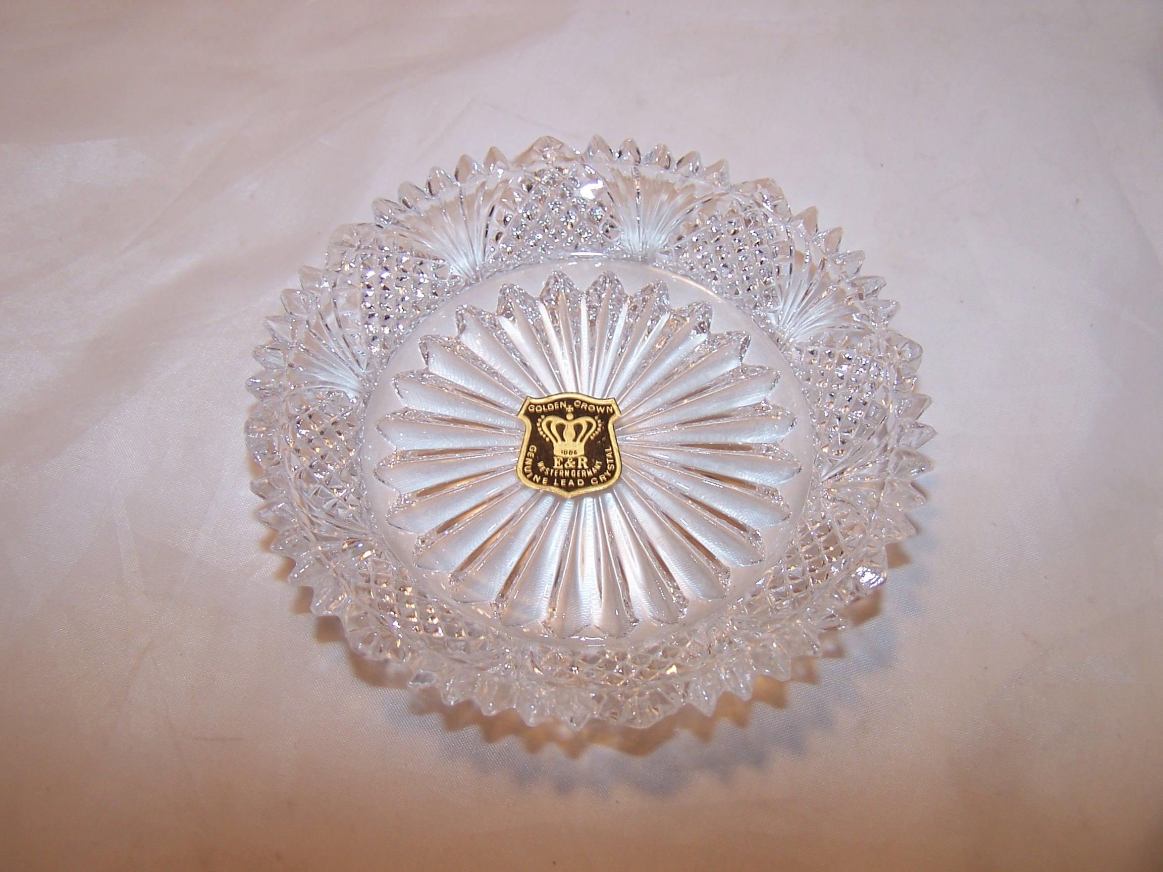 E & R Golden Crown Crystal Salt, Sauce Dish