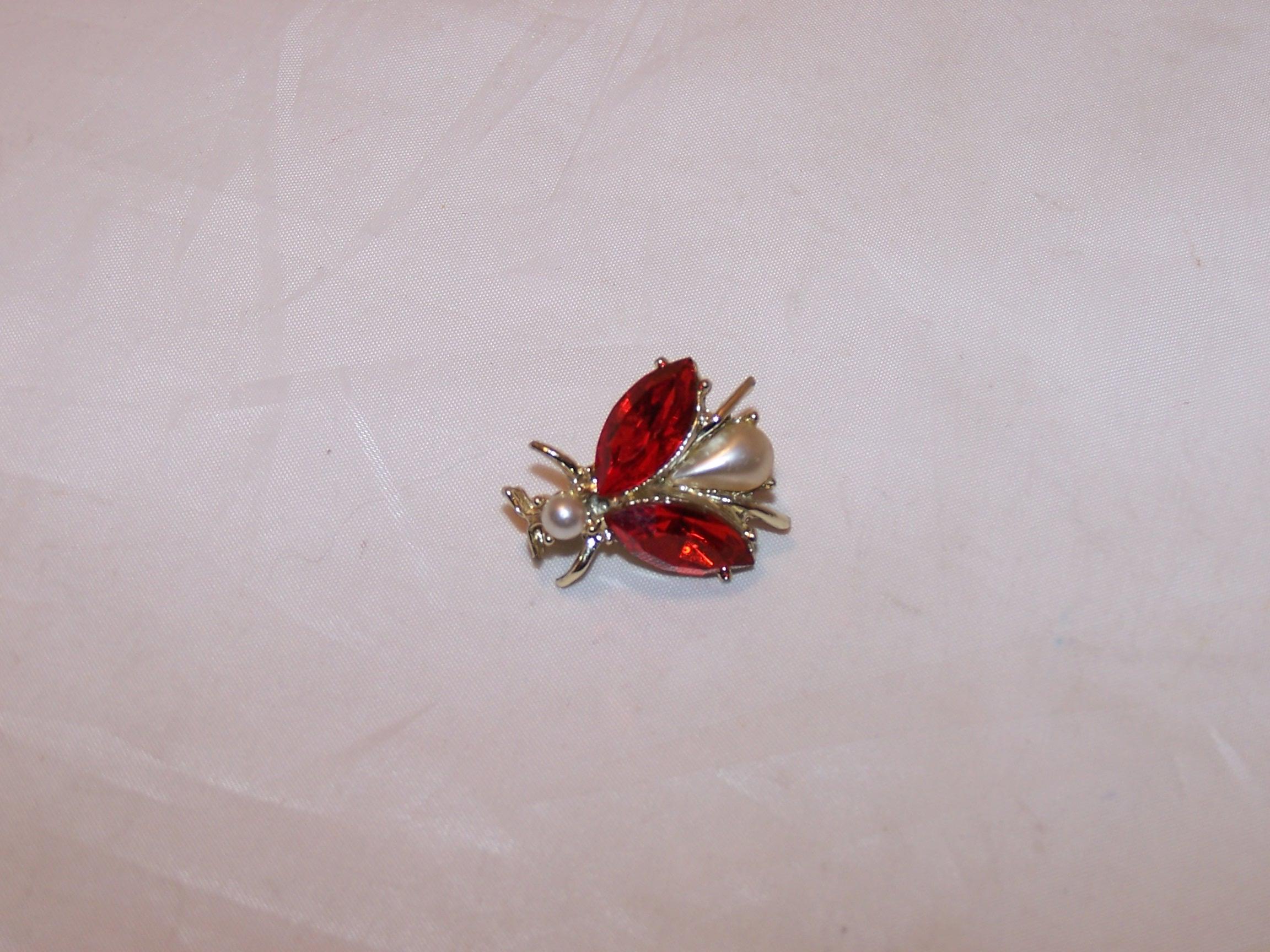 Bug Pin, Orange Rhinestone Wings