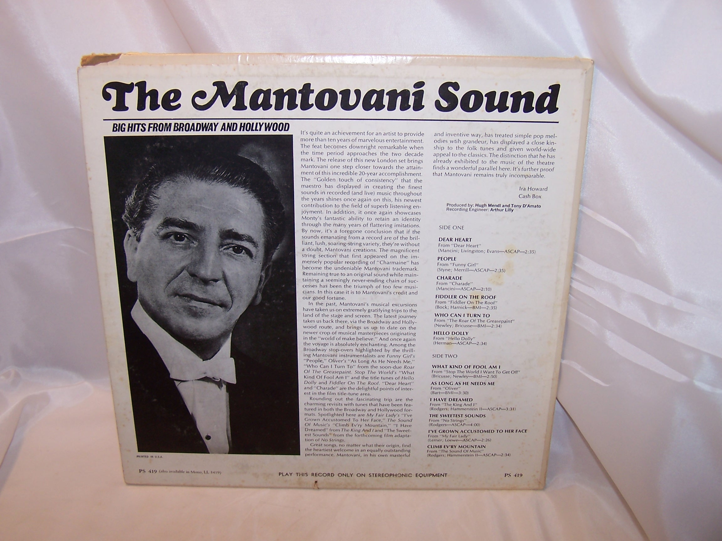 Image 3 of Mantovani Sound, Broadway Hollywood Hits, Record, LP