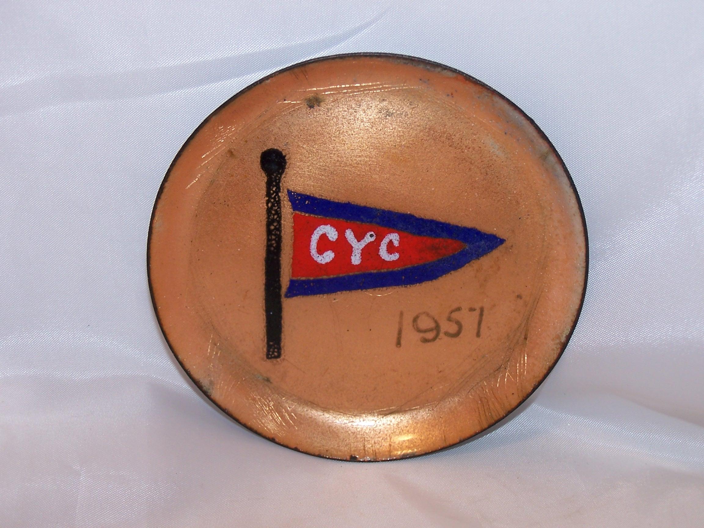 Herb Friedson Signed Enamel Dish, 1957, Cleveland Yachting Club