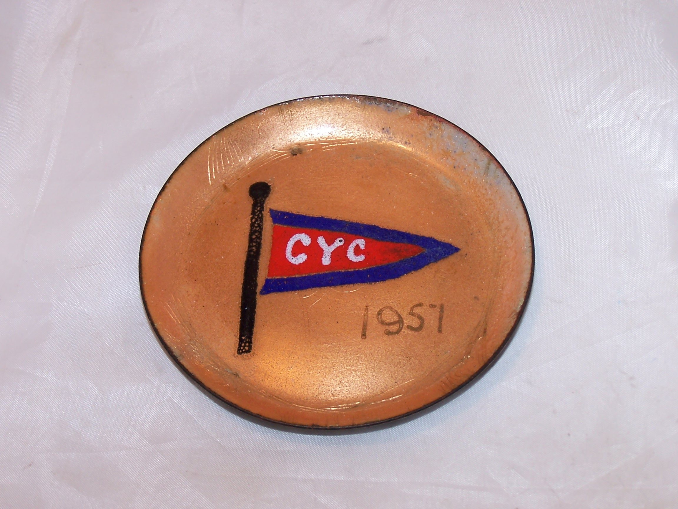 Image 1 of Herb Friedson Signed Enamel Dish, 1957, Cleveland Yachting Club