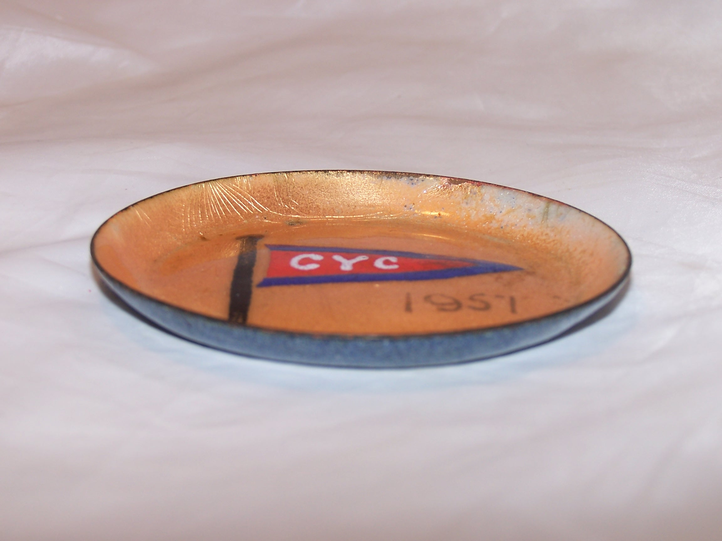 Image 2 of Herb Friedson Signed Enamel Dish, 1957, Cleveland Yachting Club